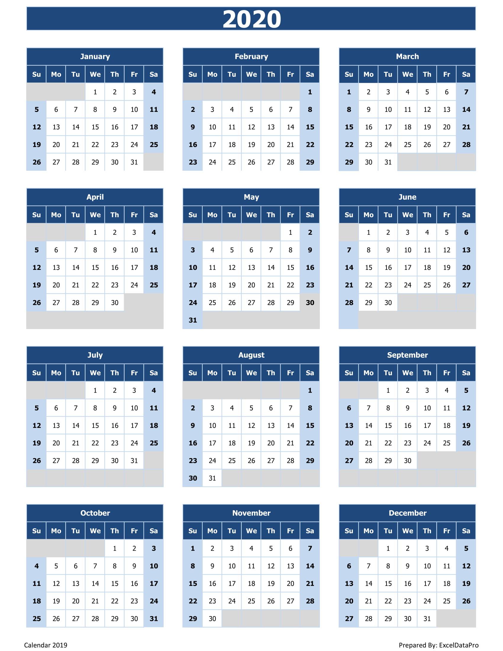 2020 Calendar Excel Templates, Printable Pdfs & Images