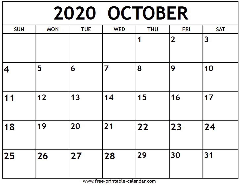 2020 Calendar October