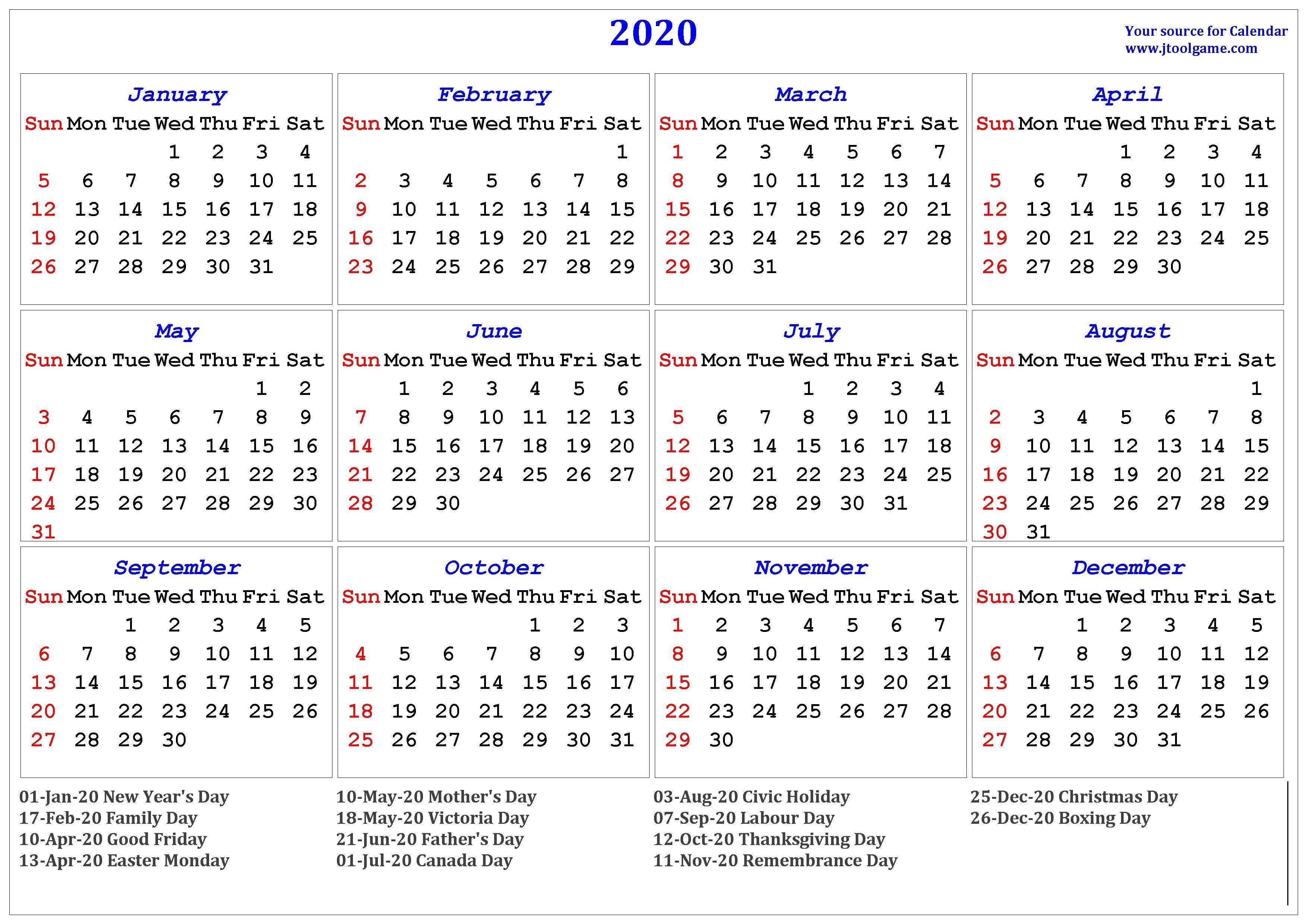 2020 Calendar – Printable Calendar. 2020 Calendar In