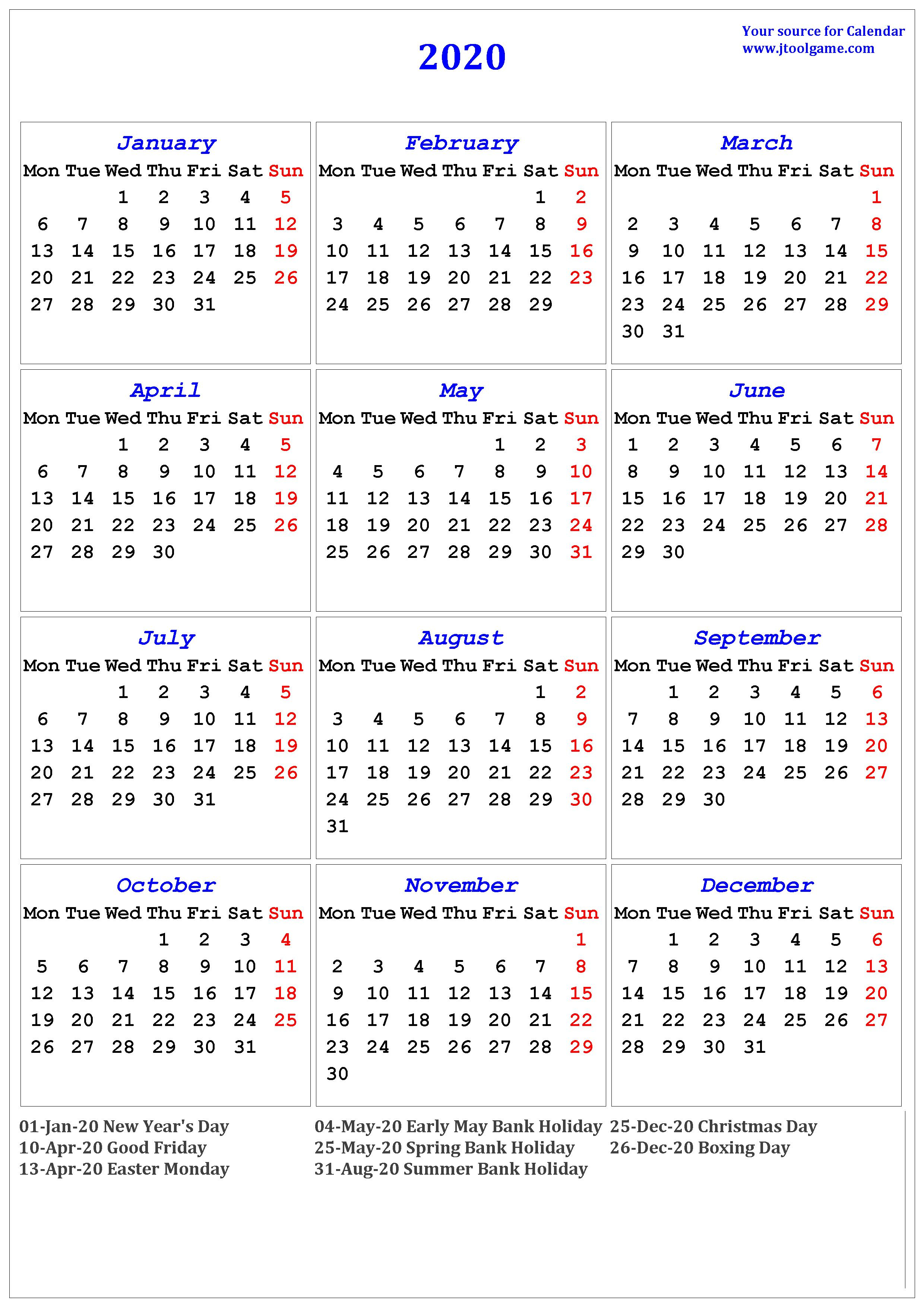 2020 Calendar - Printable Calendar. 2020 Calendar In