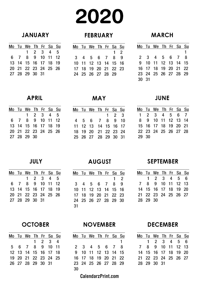 2020 Calendar – Printable Free – White – Monday Start