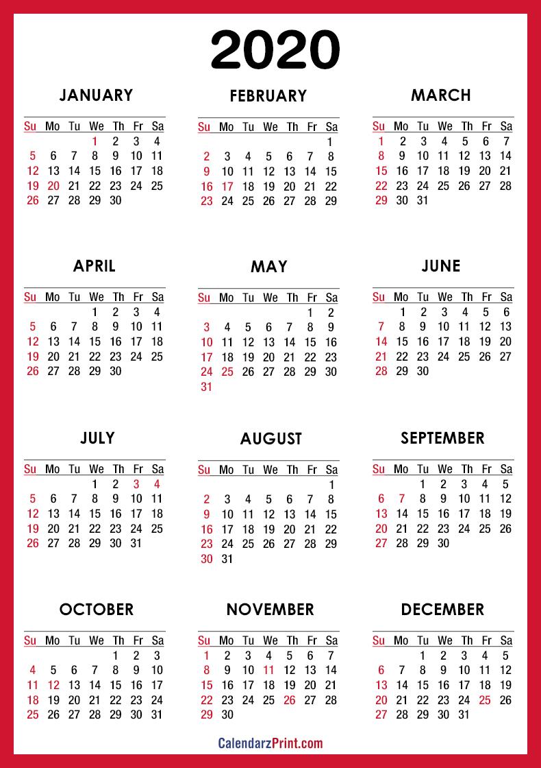 2020 Calendar Printable Free With Usa Holidays – Red