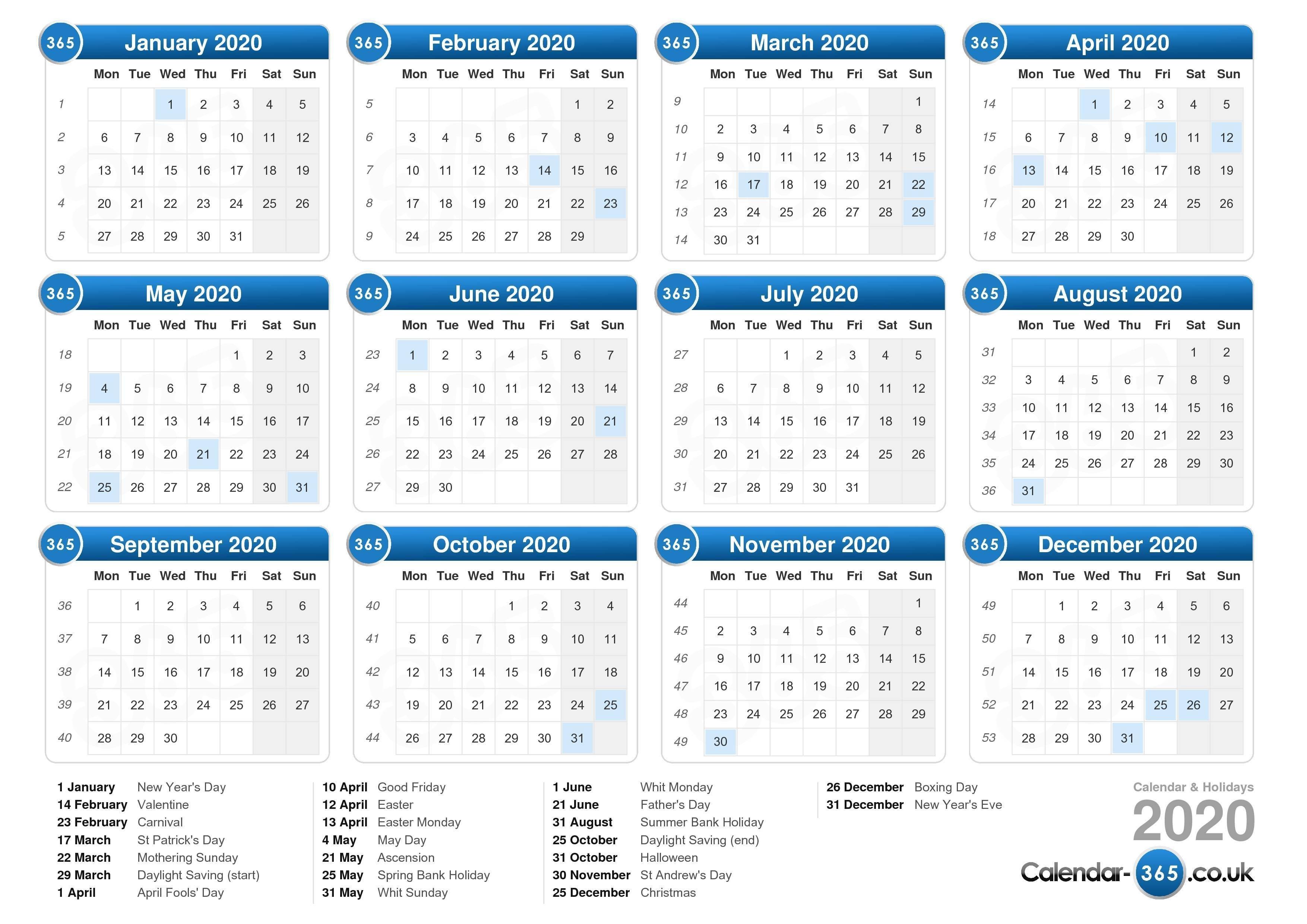 2020 Calendar Printable Uk Calendar 2020 Monthly Yearly