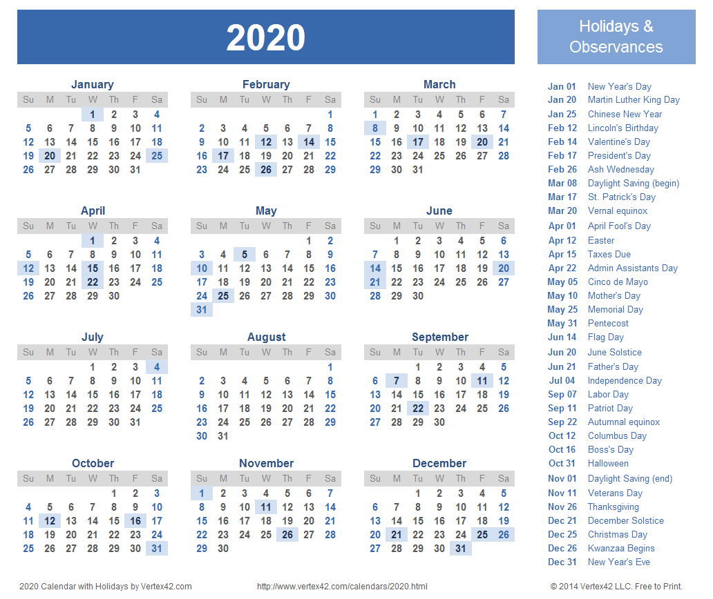 2020 Calendar Prints For Planning! | Planner | Calendar 2018