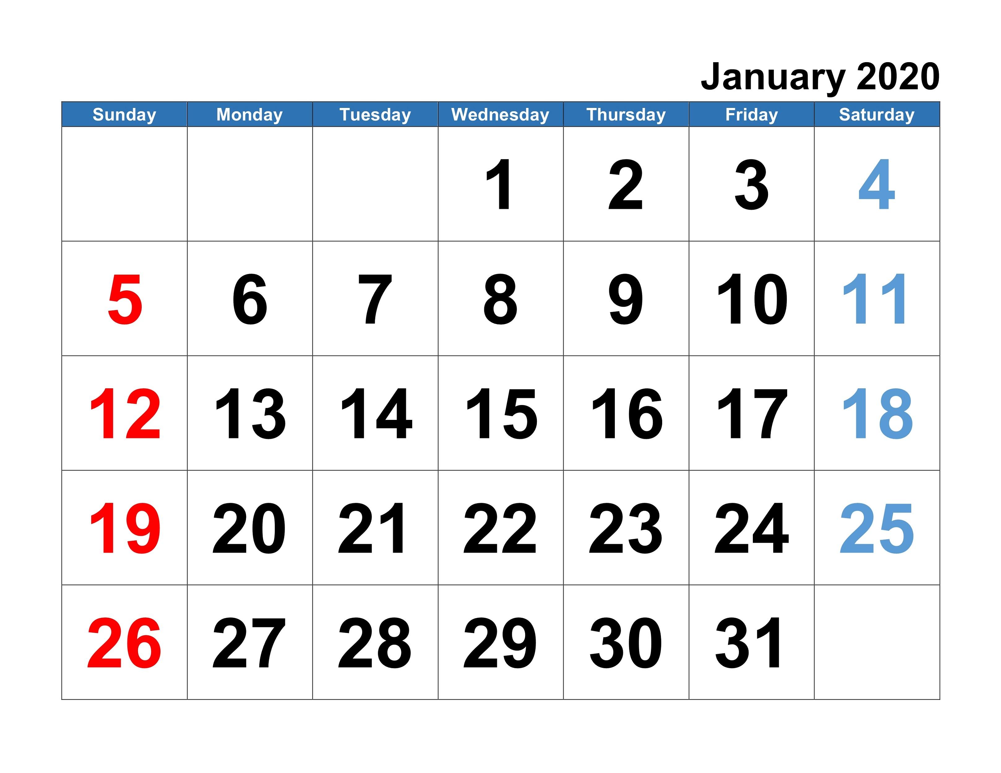 2020 Calendar Template For Kids Big Fonts | Calendar Shelter