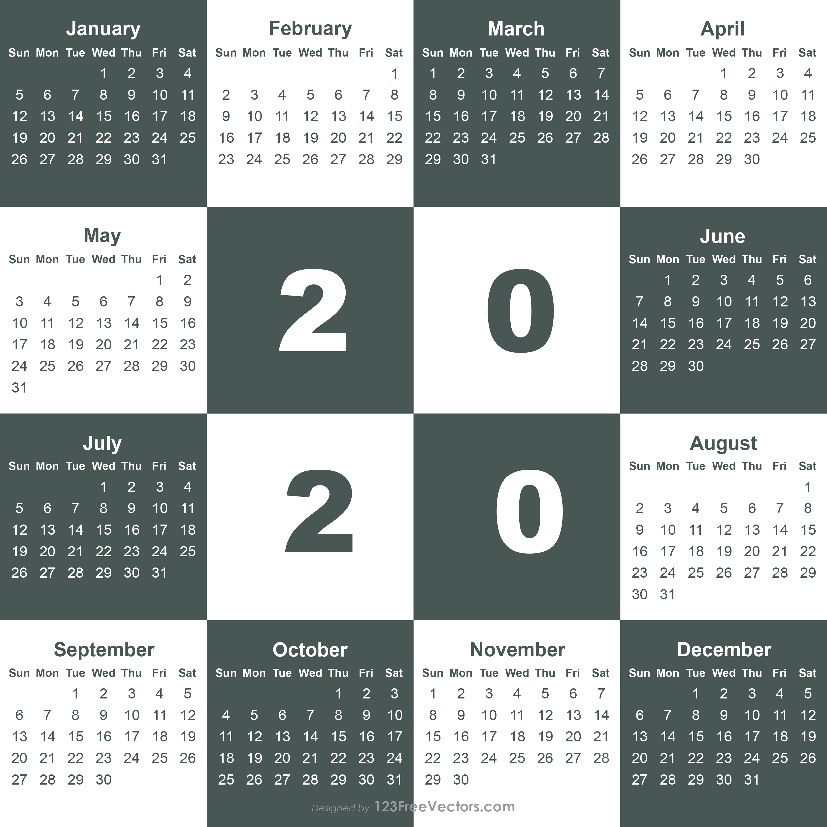2020 Calendar Template Illustrator