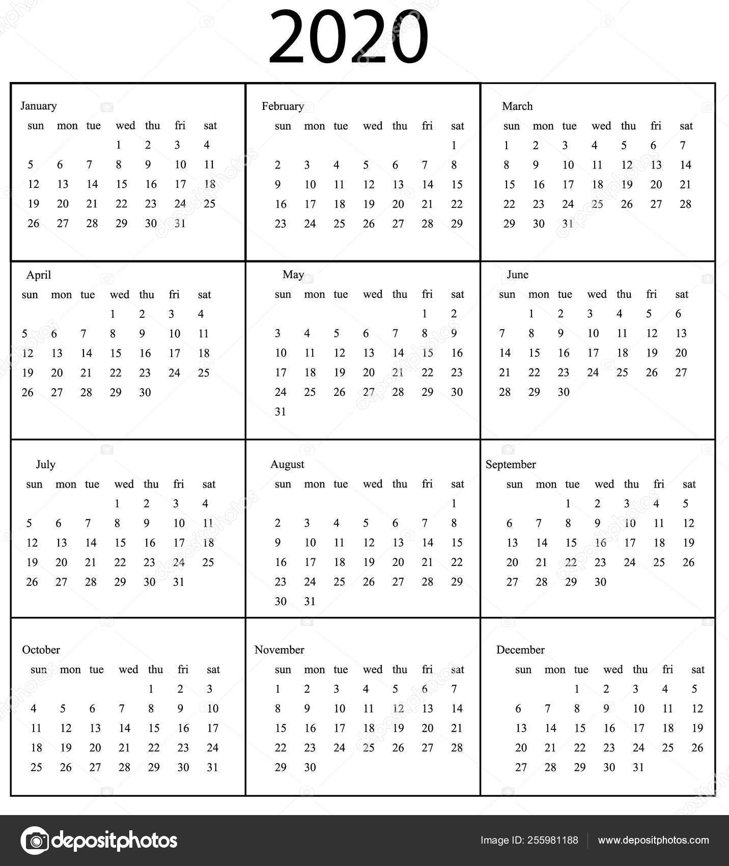 2020 Calendar Template. Starts Sunday — Векторное