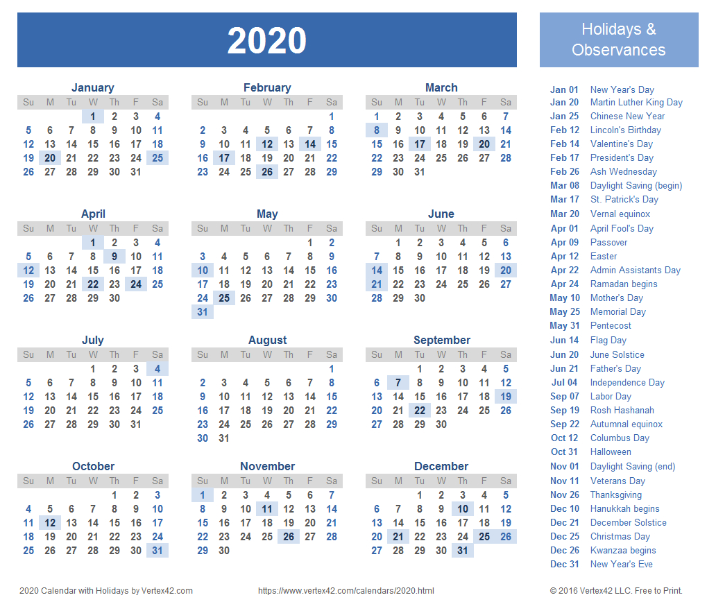 2020 Calendar Templates And Images