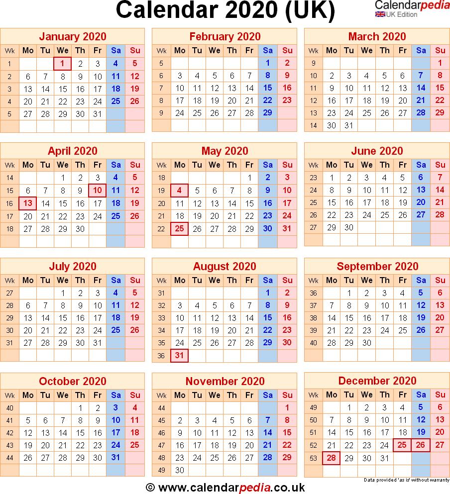2020 Calendar Uk – Printable Year Calendar
