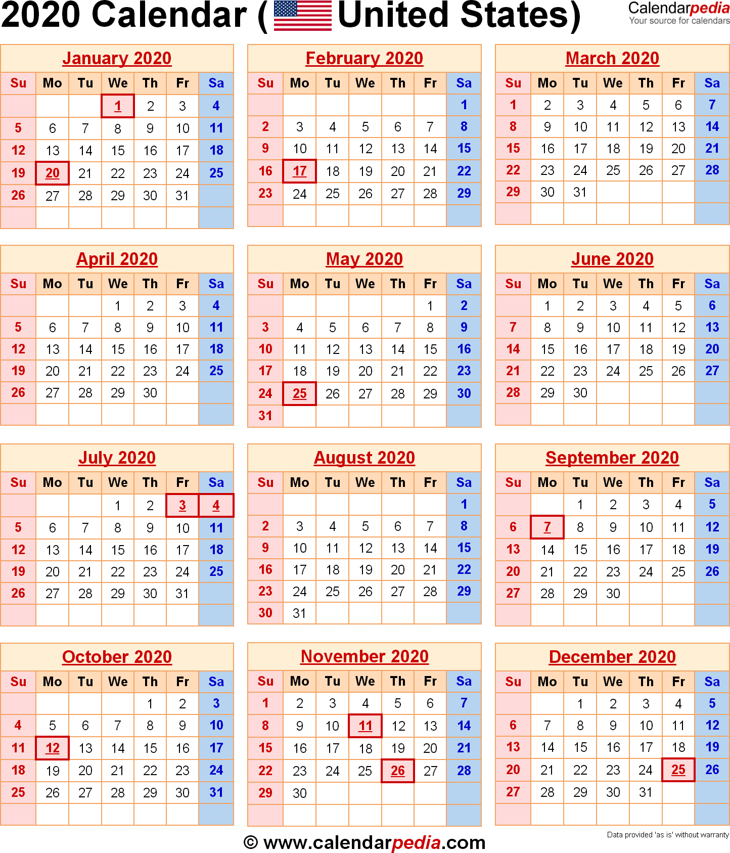2020 Calendar With Federal Holidays & Excel/pdf/word Templates