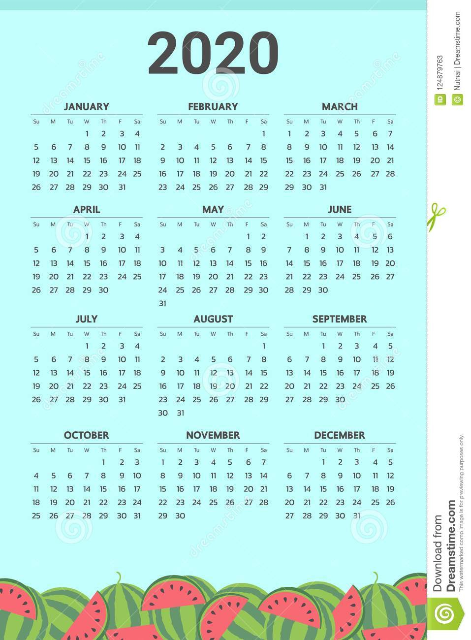 2020 Calendar With Watermelon Theme - Vector Stock Vector