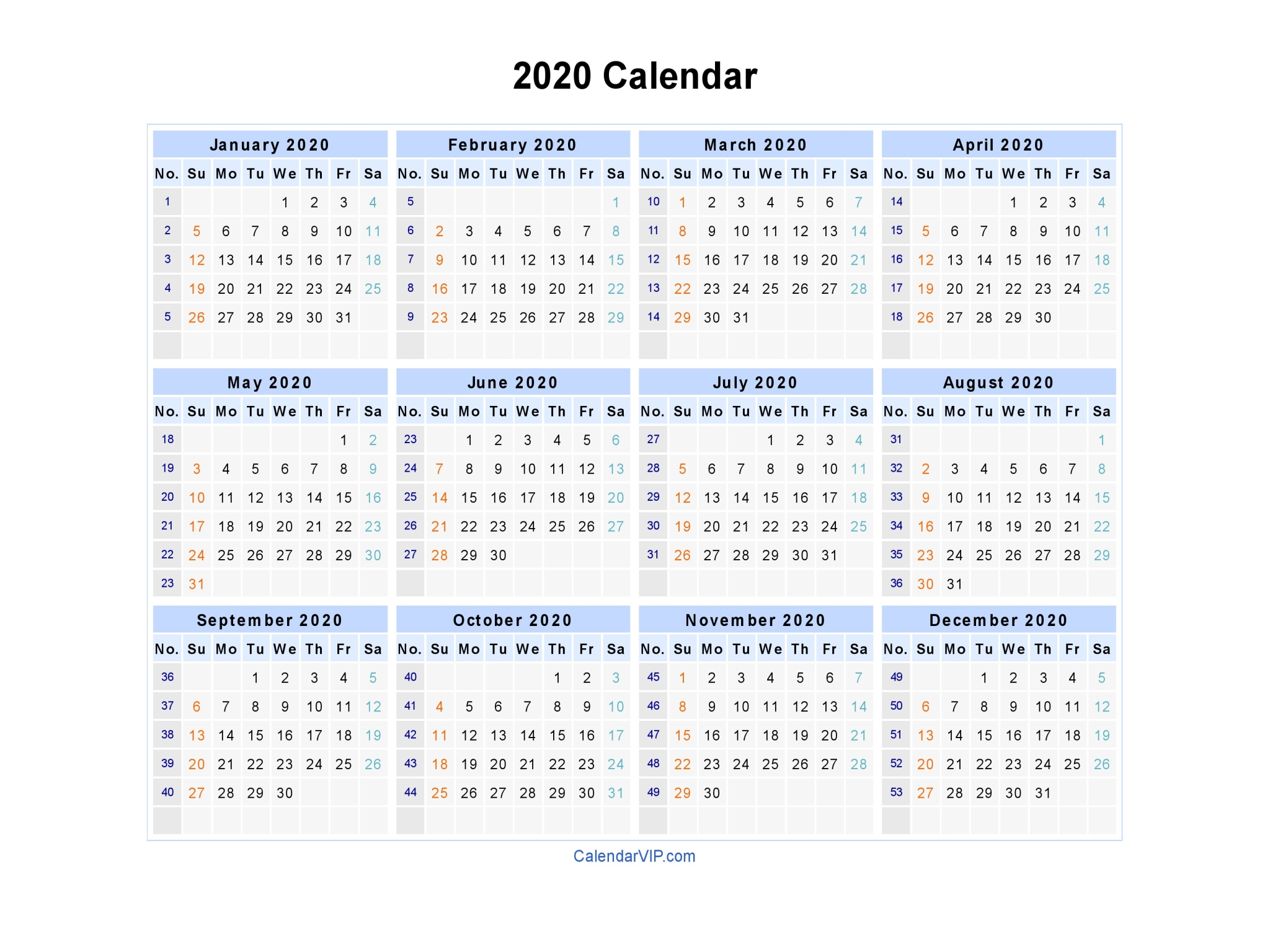 2020 Calendar Word – Printable Year Calendar