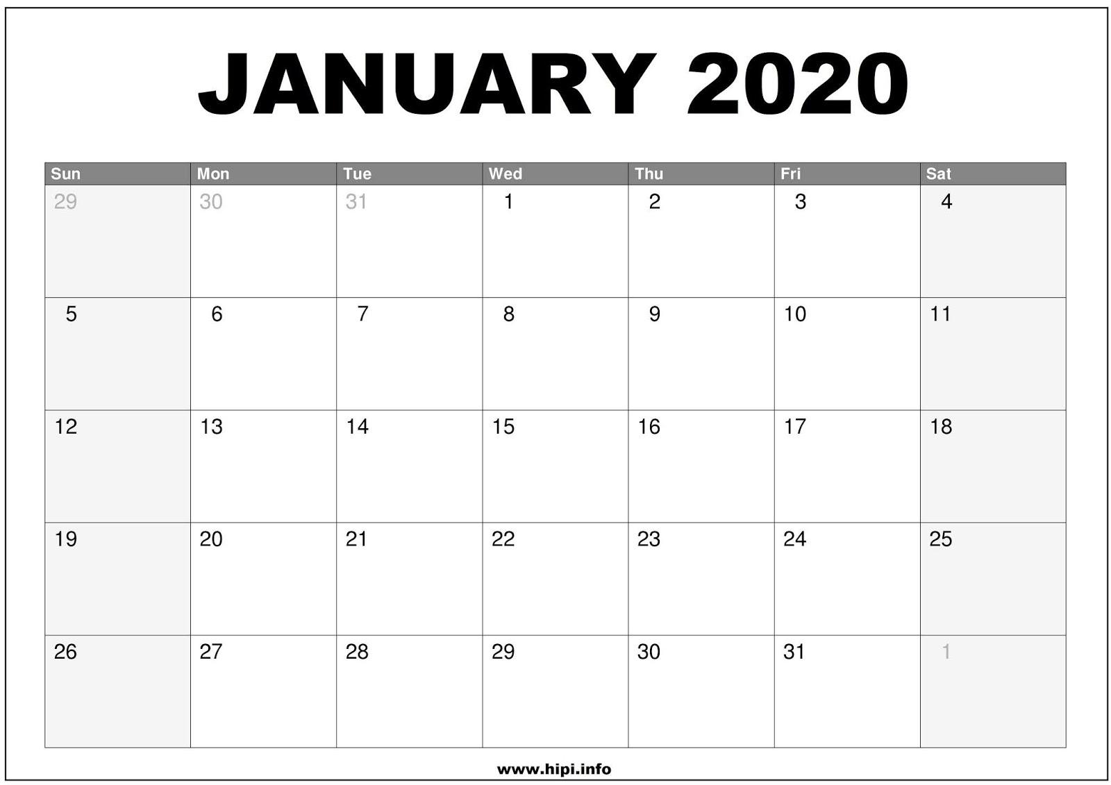 2020 Calendarmonth