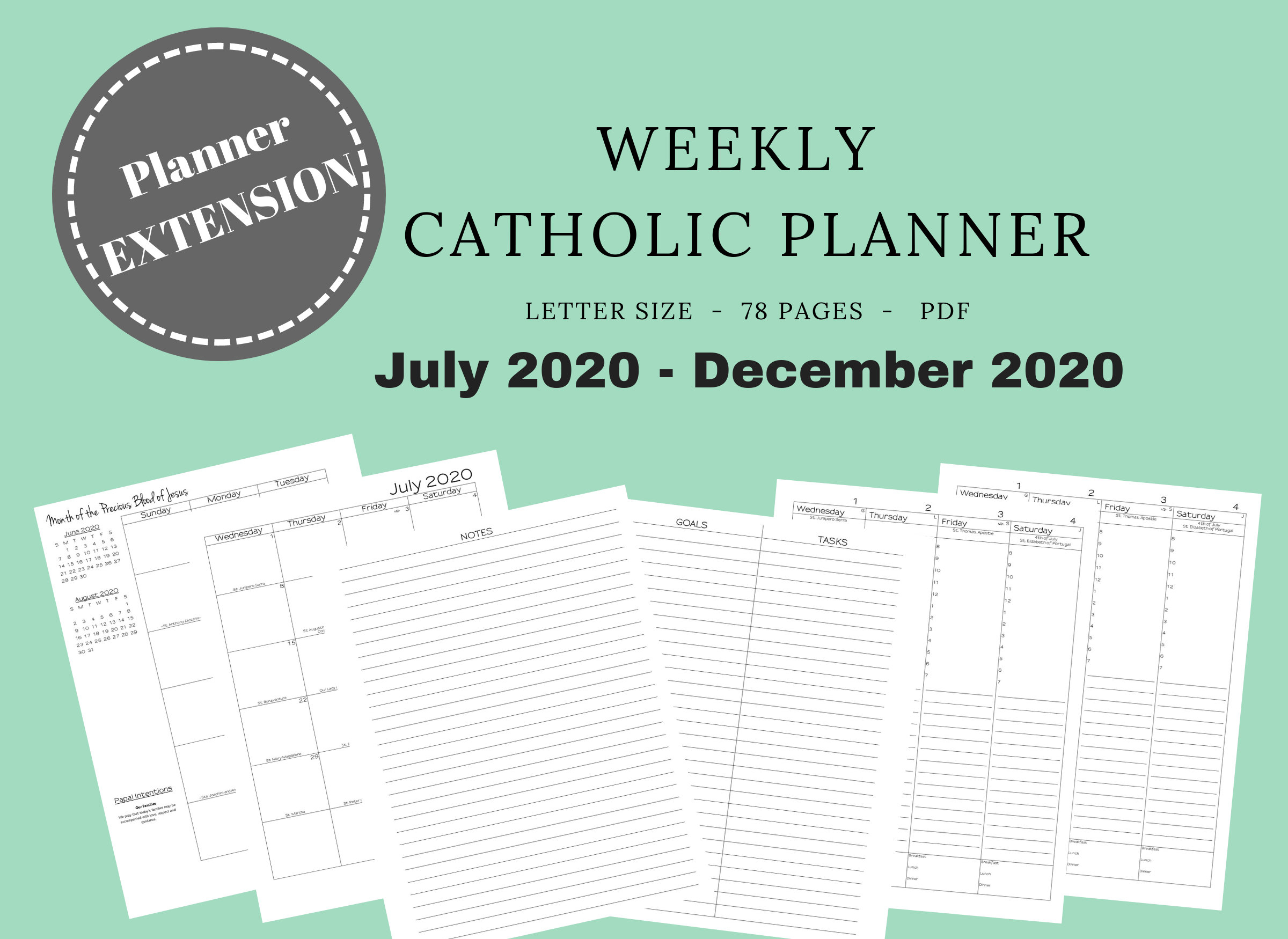 2020 Catholic Planner *extension* Weekly Printable: Daily Planner / Weekly  Calendar / Liturgical Planner / Printable Catholic Planner