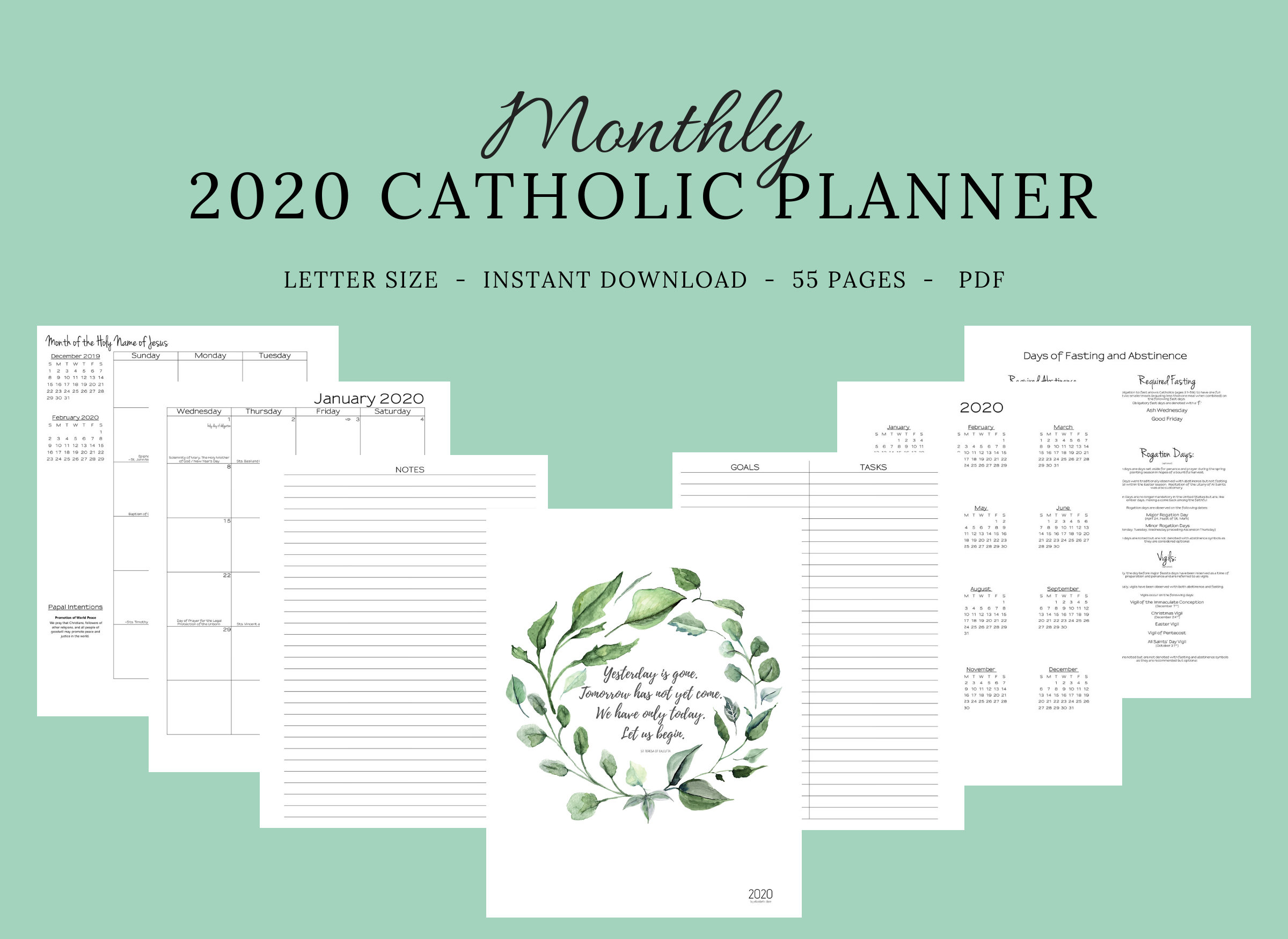 2020 Catholic Planner Monthly Printable: Monthly Planner / Catholic  Liturgical Year Calendar / Printable Catholic Planner / Catholic Woman