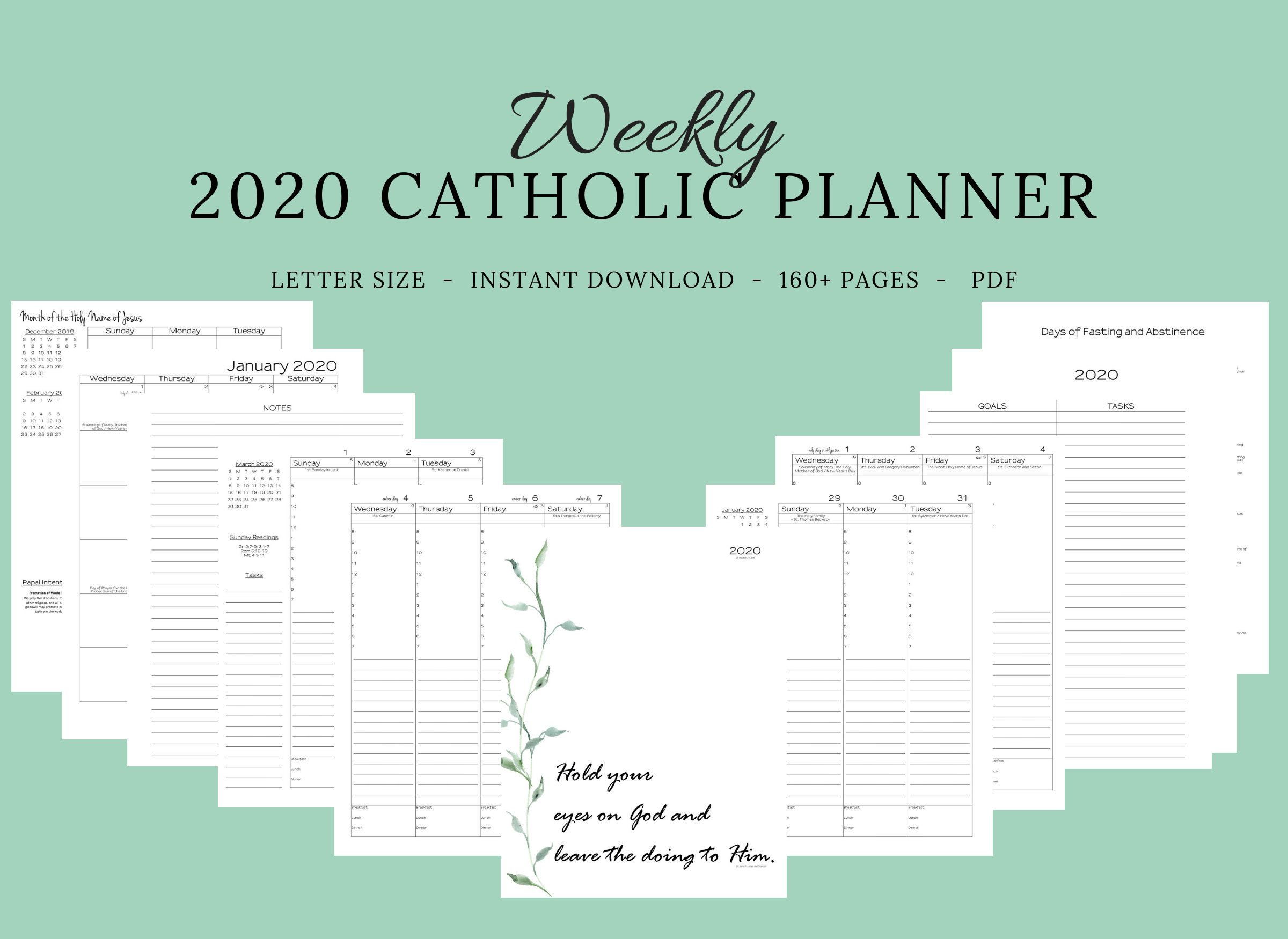 2020 Catholic Planner Weekly Printable: Daily Planner / Weekly Calendar /  Catholic Liturgical Year Calendar / Printable Catholic Planner