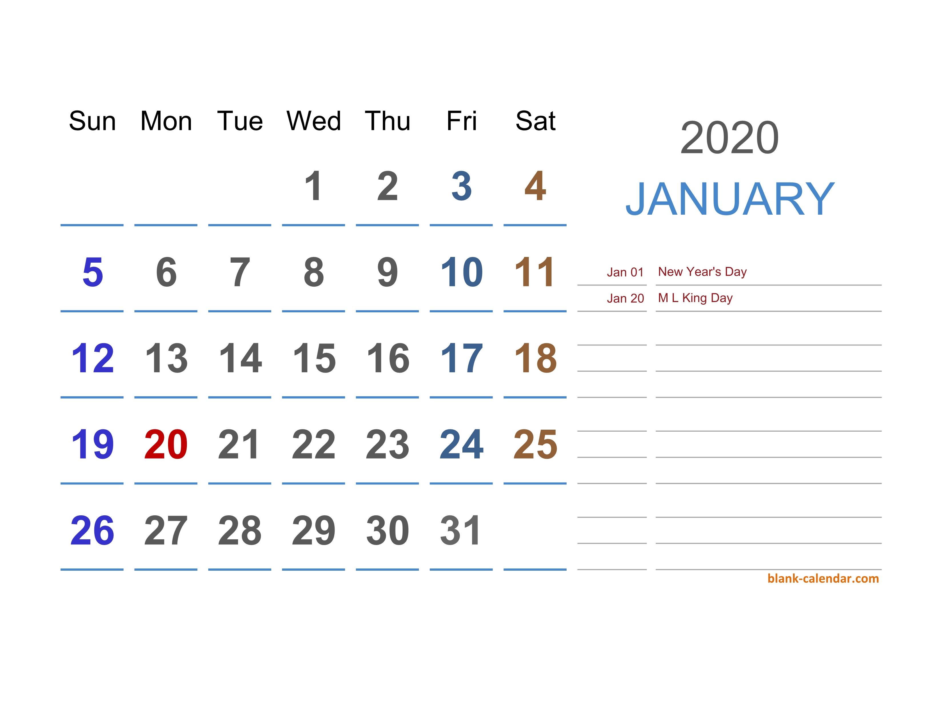 2020 Excel Calendar | Free Download Excel Calendar Templates