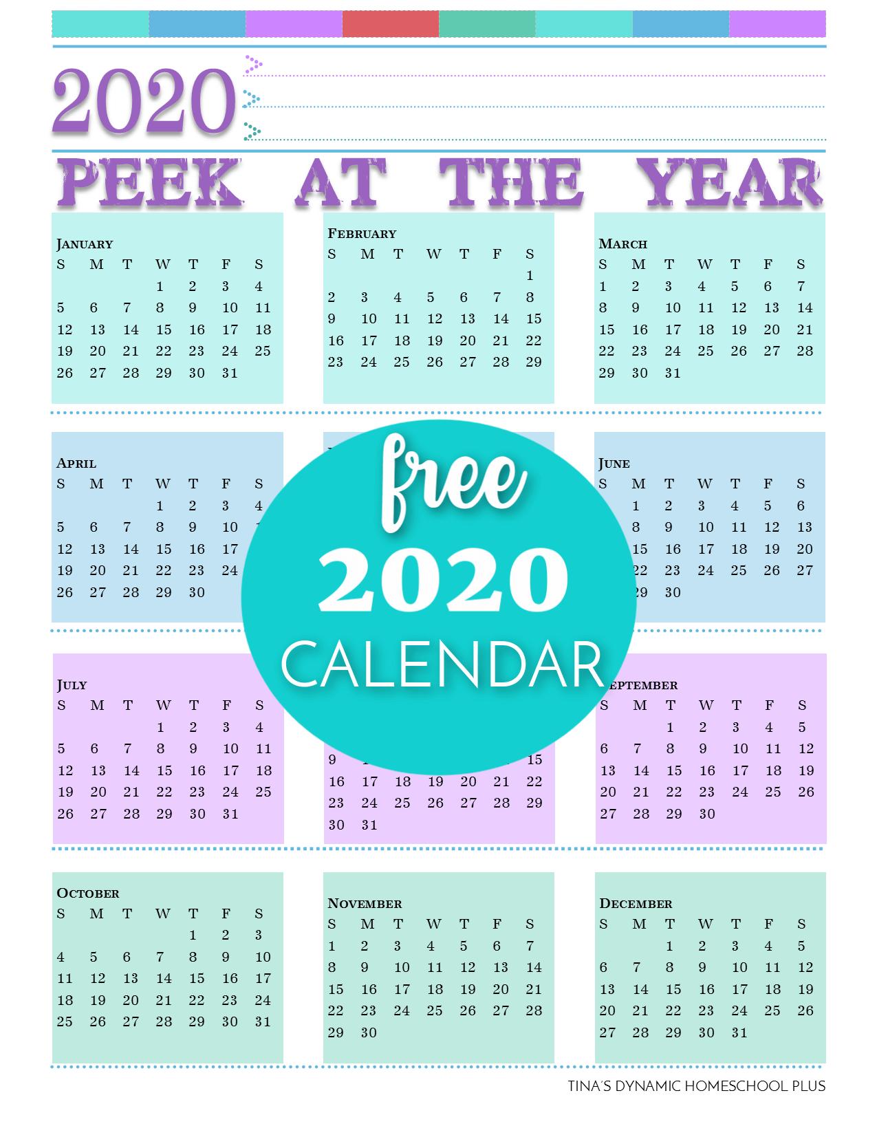 2020 Free Calendar (Add To Your Printable Homeschool Planner