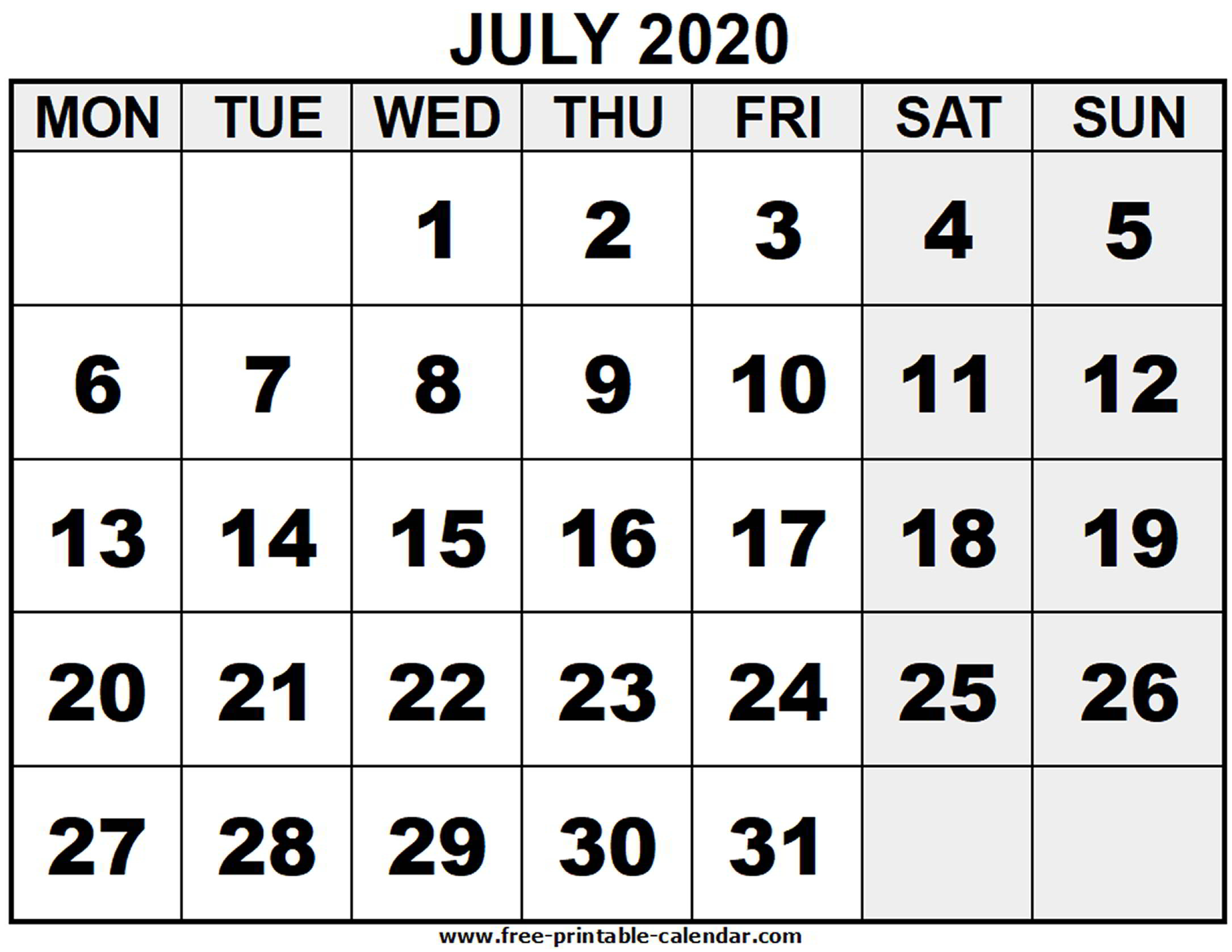 2020 July - Free-Printable-Calendar