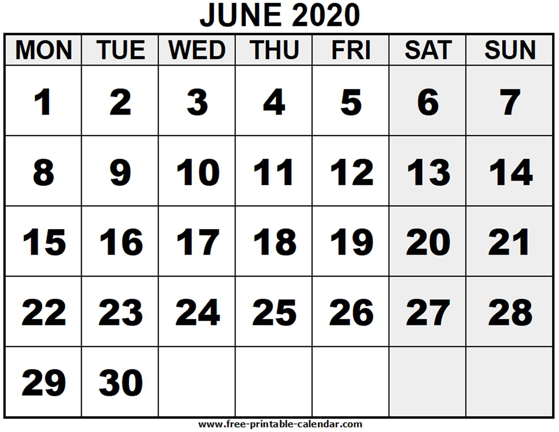 2020 June - Free-Printable-Calendar