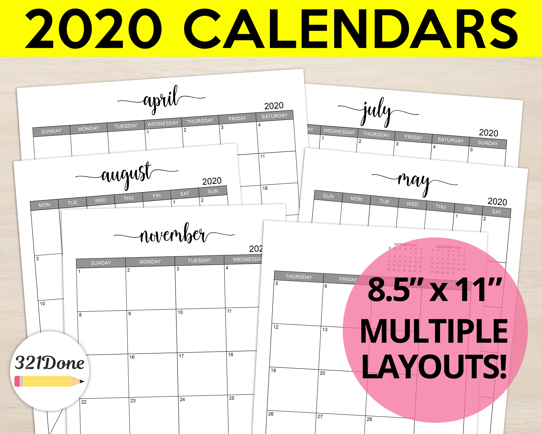 "2020 Monthly Calendars Printable Set Planner Refill Blank Month Calendar  Bundle Template Simple Journal Letter 8.5"" X 11"" Pdf Files"