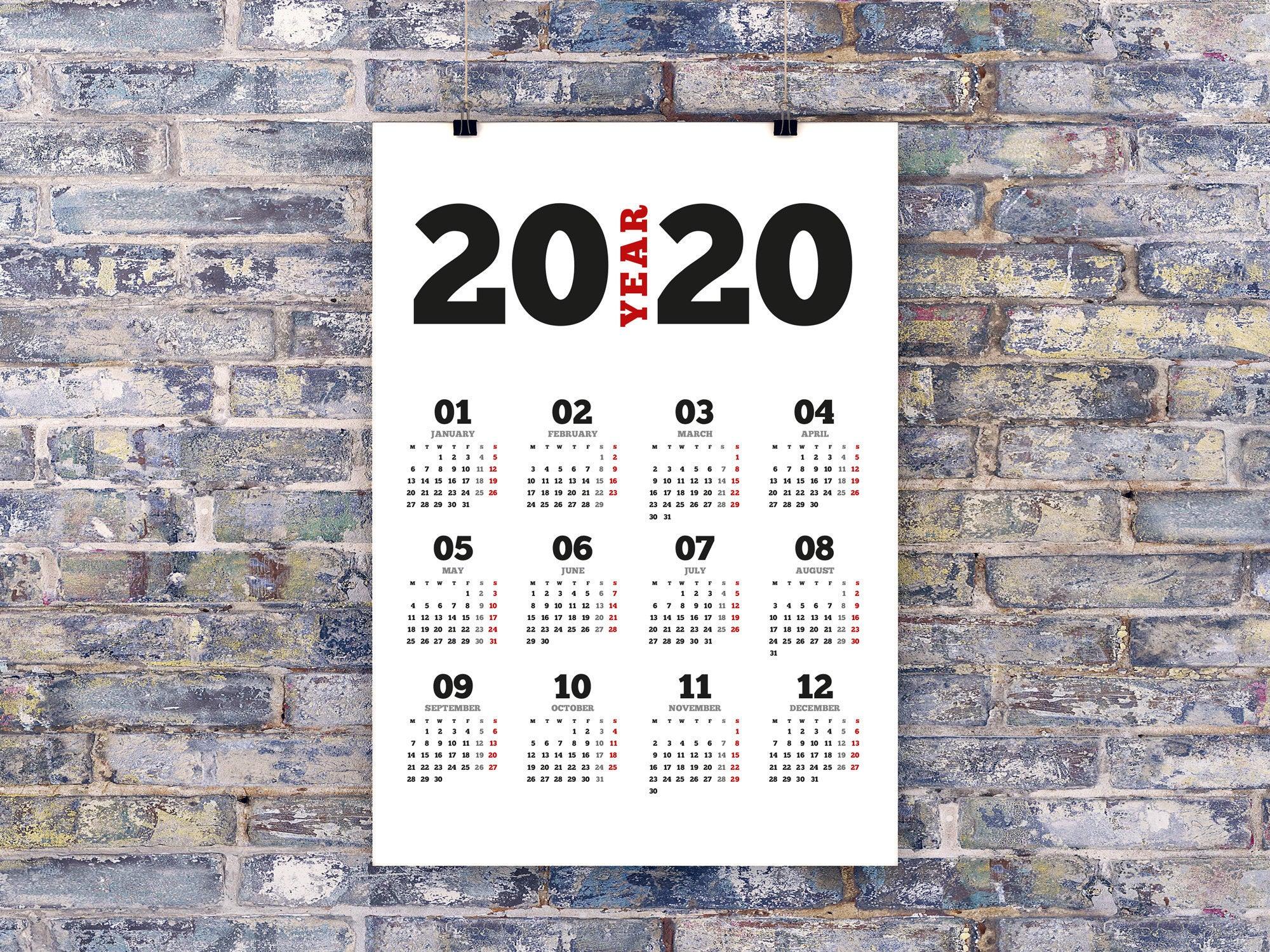 2020 Poster Wall Calendar Template (Kjp-W1). Digital Pdf File