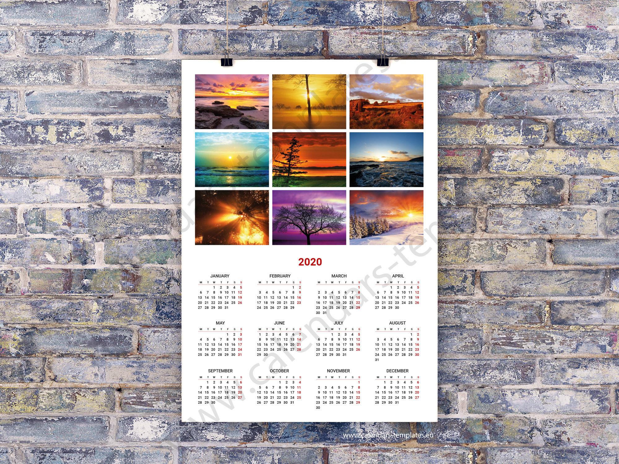 2020 Poster Wall Calendar Template (Kjp-W2) Pdf Format