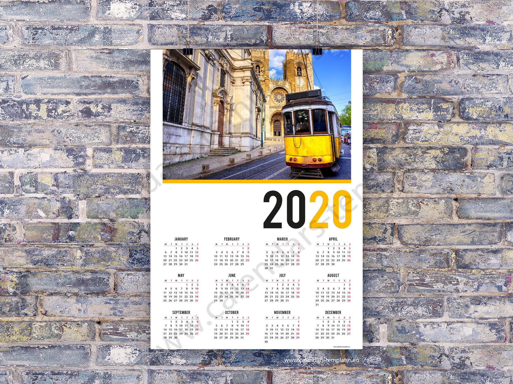 2020 Poster Wall Calendar Template (Kjp-W6). Pdf Format