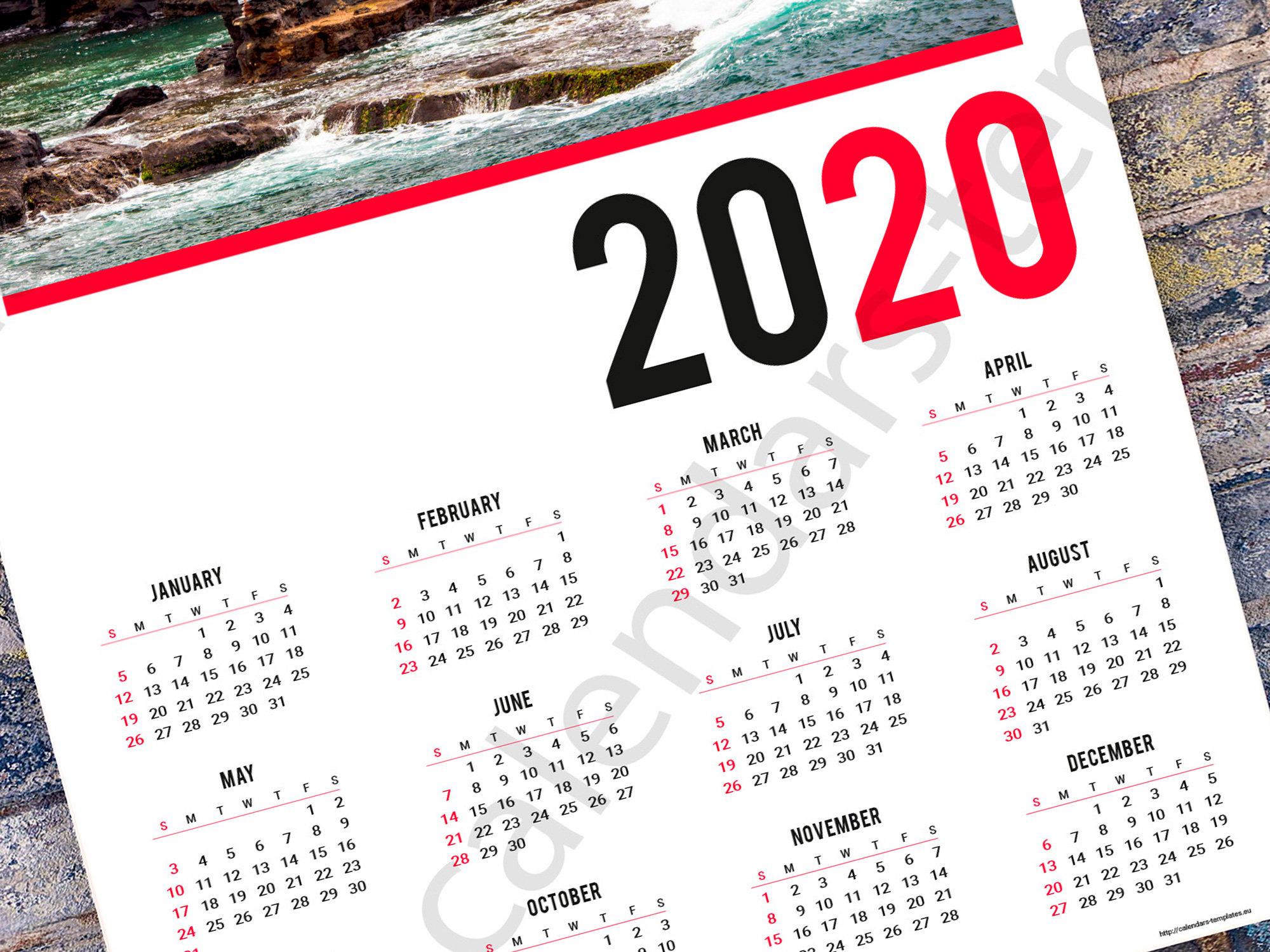 2020 Poster Wall Yearly Calendar Template (Kjp-W6). Pdf Format