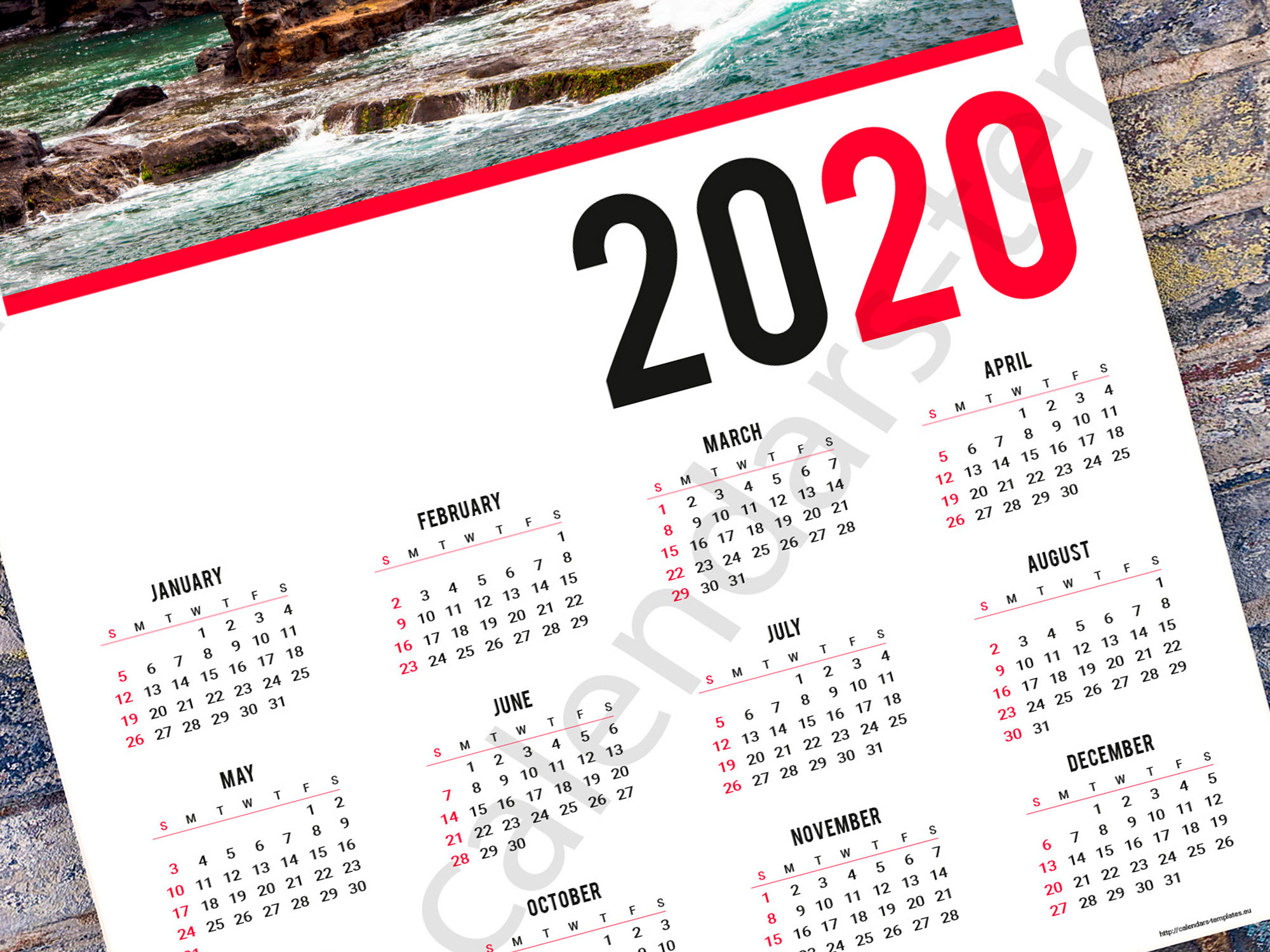 2020 Poster Wall Yearly Calendar Template (Kjp-W6). Pdf Format