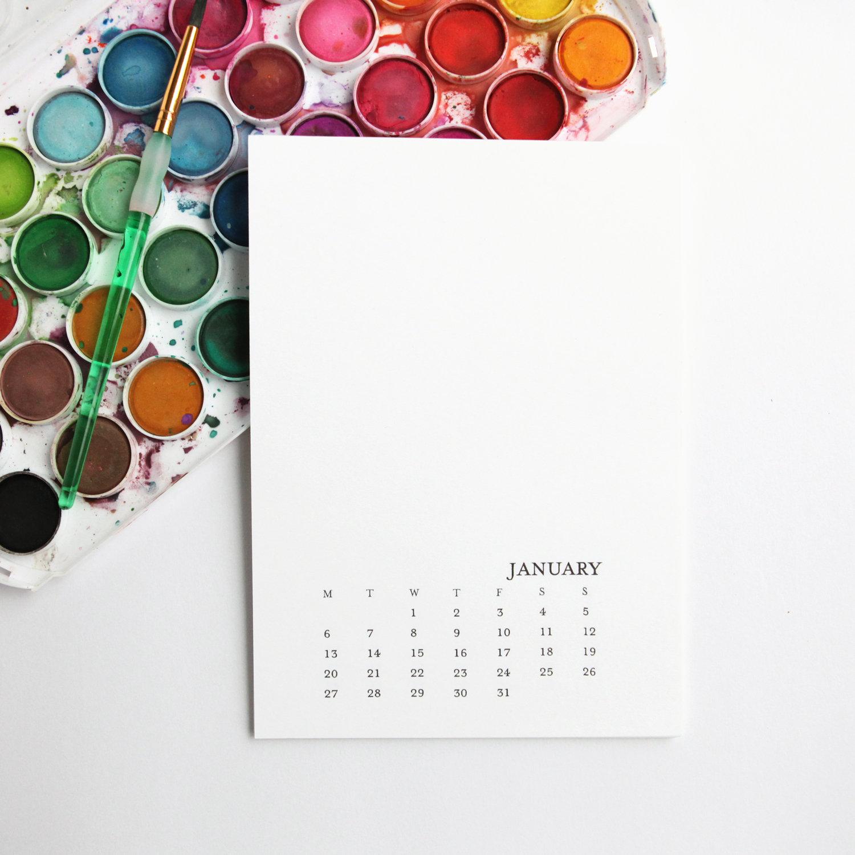 2020 Printable Calendar 5X7 Monday-Sunday - Printable Monthly Calendar -  2020 Diy Calendar Office Decor - Blank Calendar