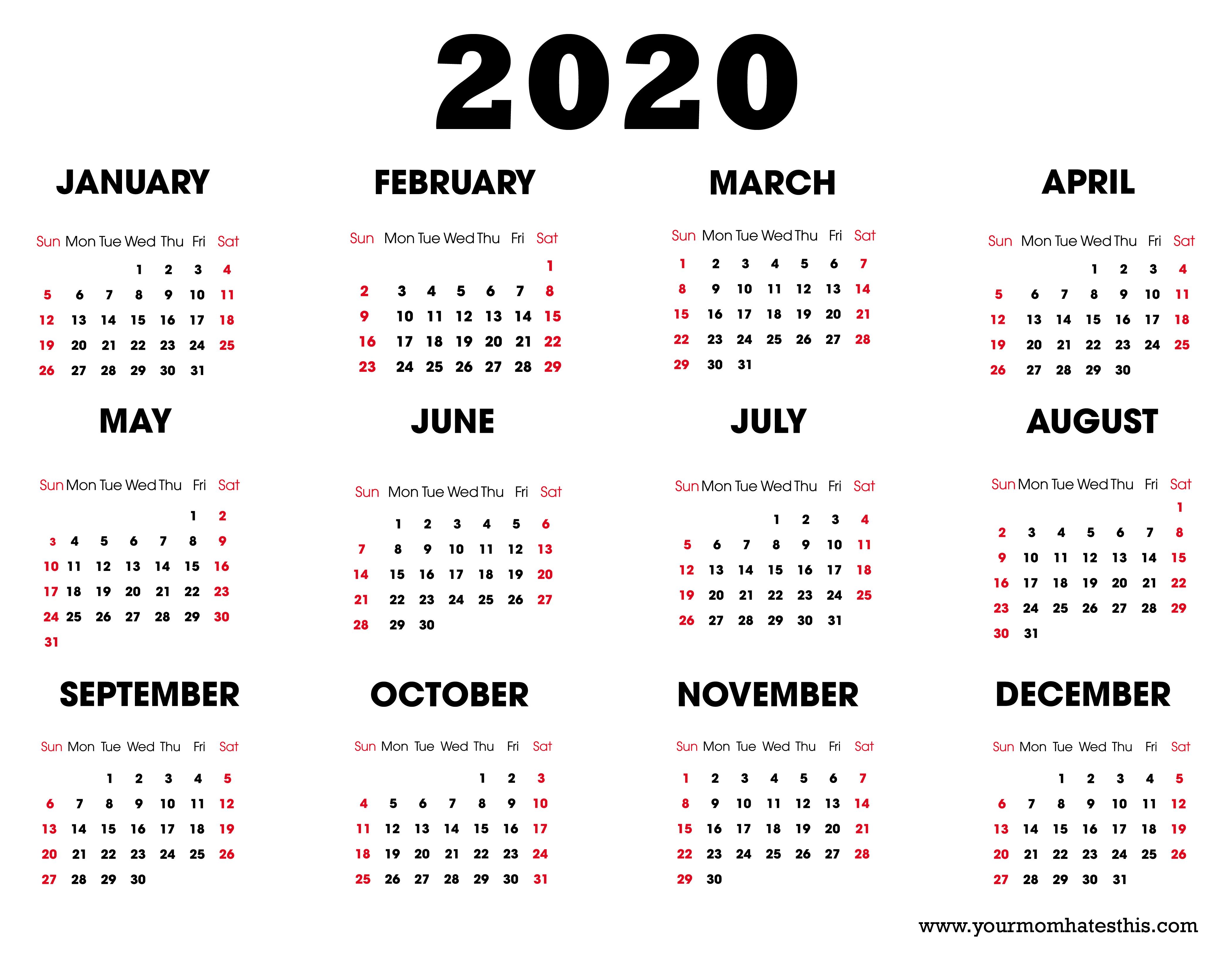 2020 Printable Calendar - Download Free Blank Templates