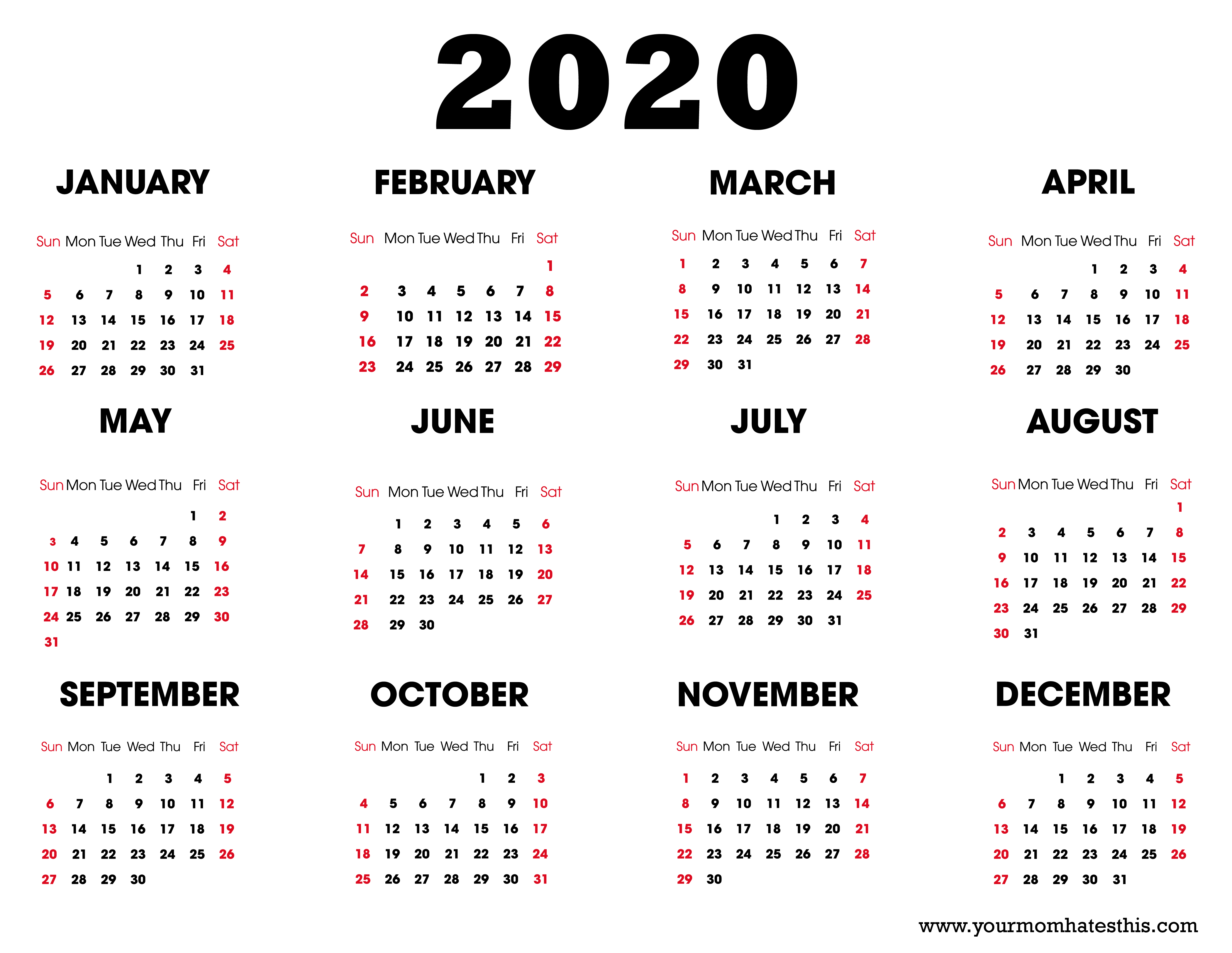 2020 Printable Calendar - Download Free Blank Templates