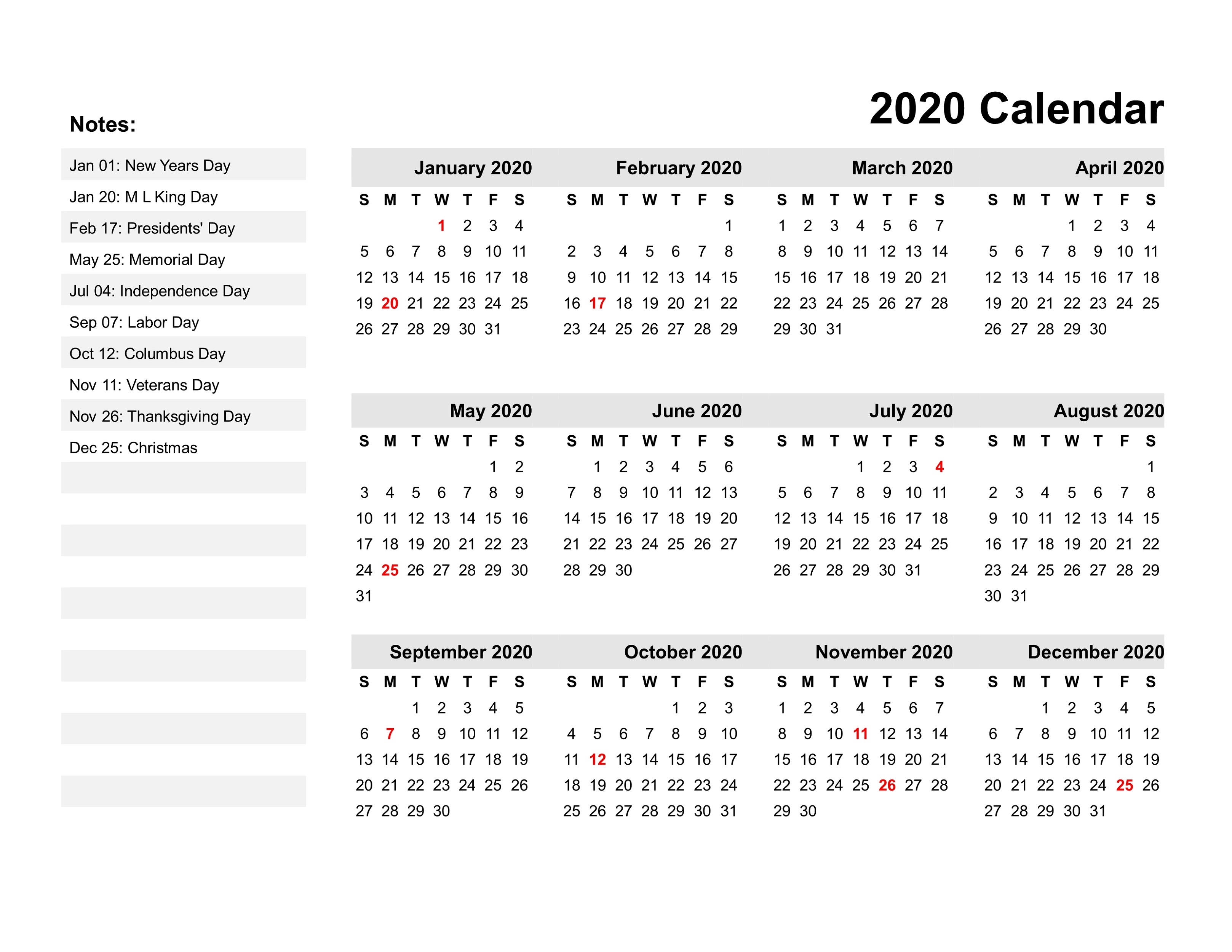 2020 Printable Calendar Pdf For Free | Calendar Shelter