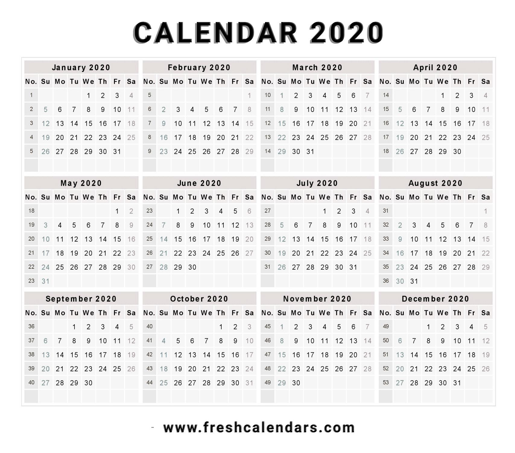 2020 Printable Calendar Word – Calendar Printable Week
