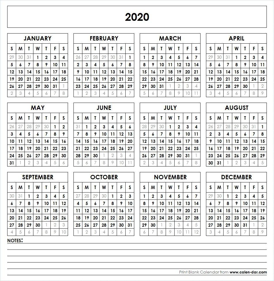2020 Printable Calendar | Yearly Calendar | Printable Yearly
