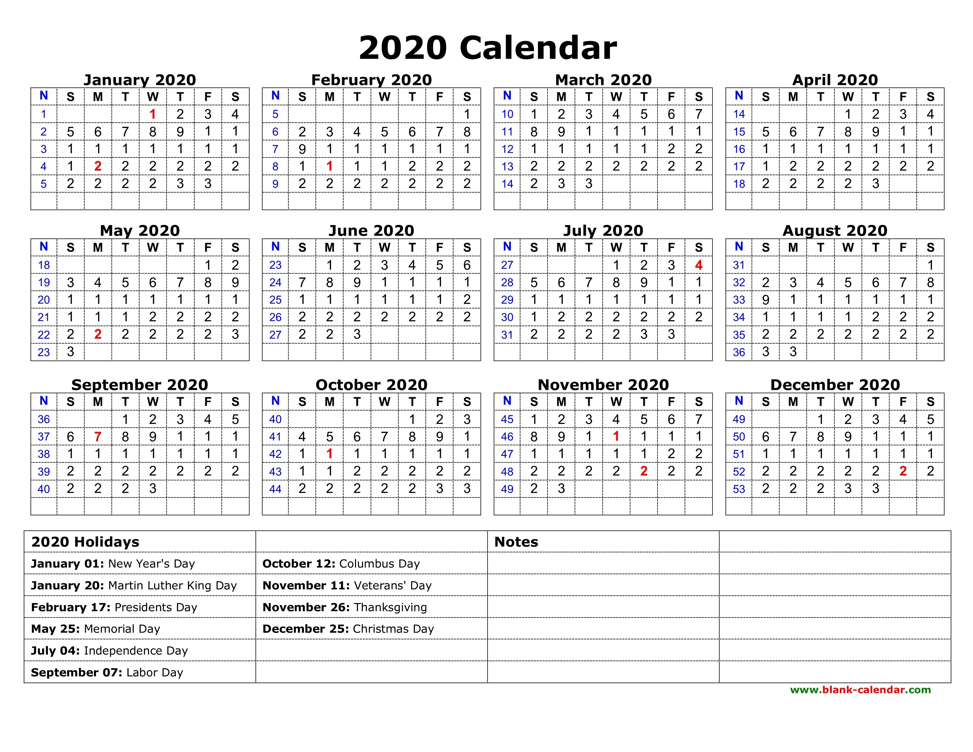 2020 Printable Calendars With Holidays | Isacl