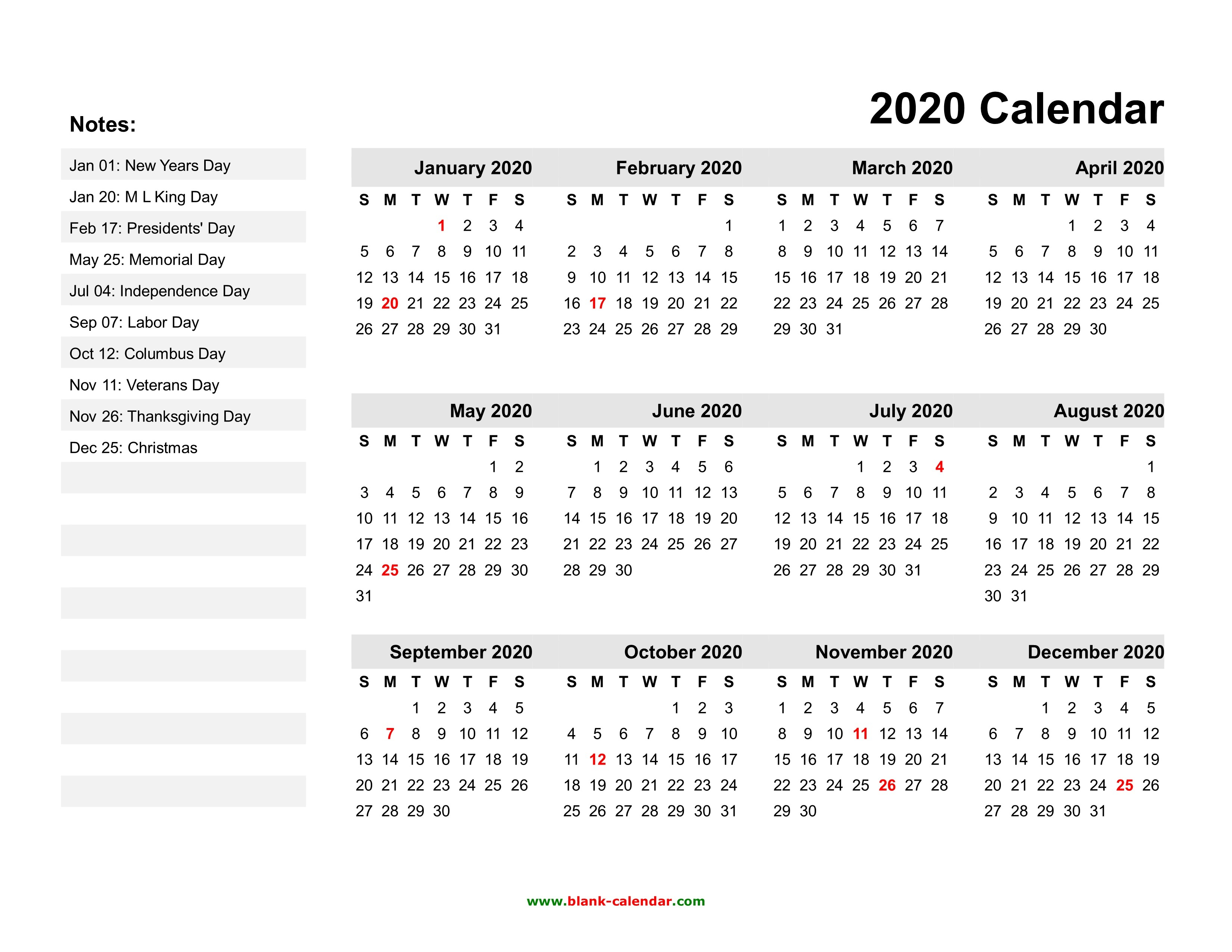 2020 Printable Calendars With Us Holidays | Free Printable
