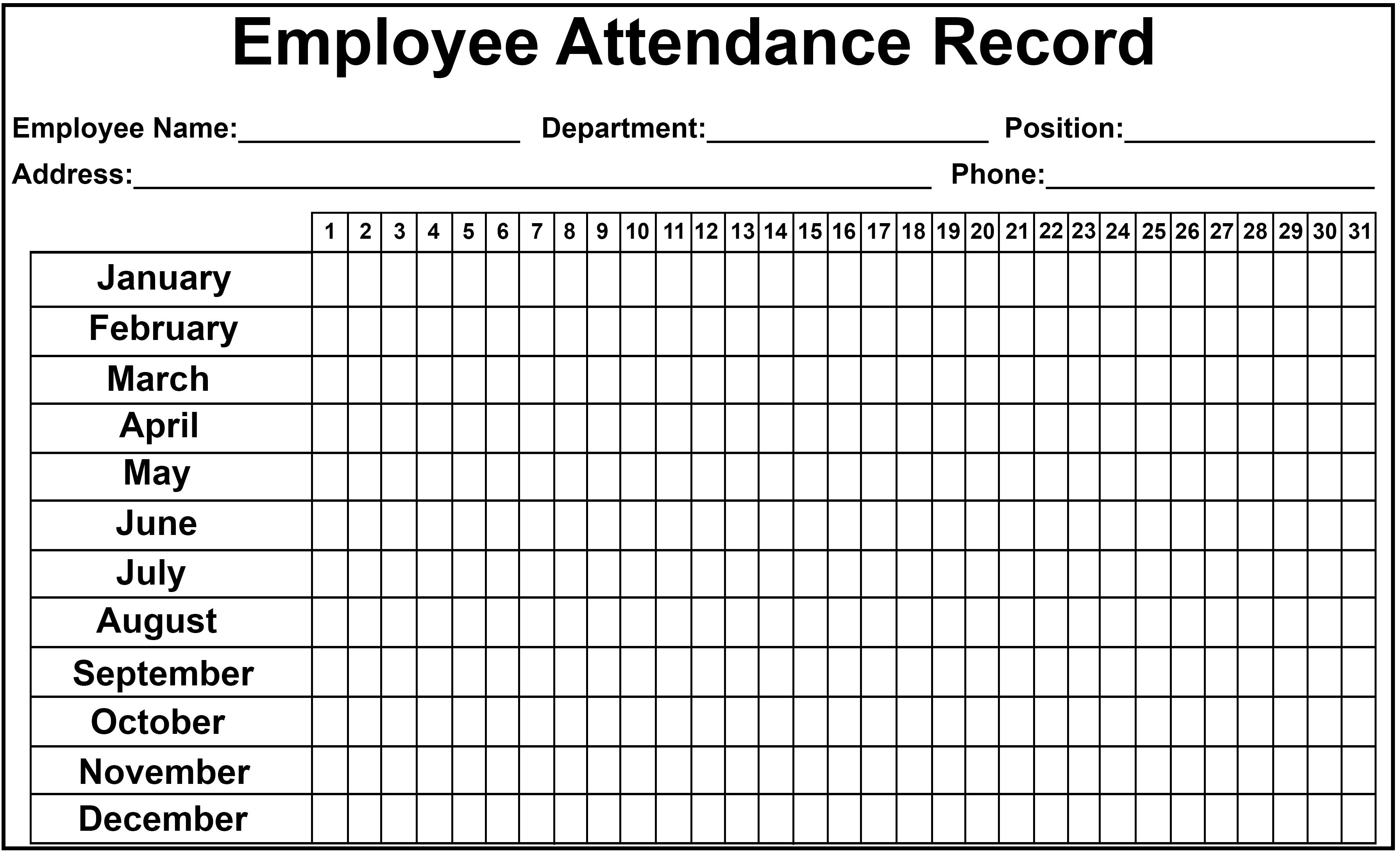 2020 Printable Employee Attendance Calendar Template