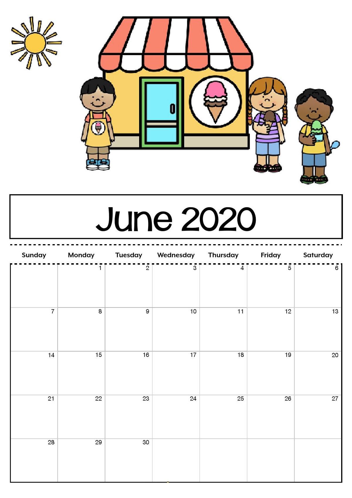 2020 Printable Monthly Calendar For Kids   Calendar Shelter