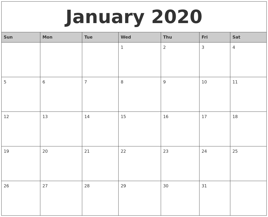 2020 Printable Monthly Calendar   Isacl