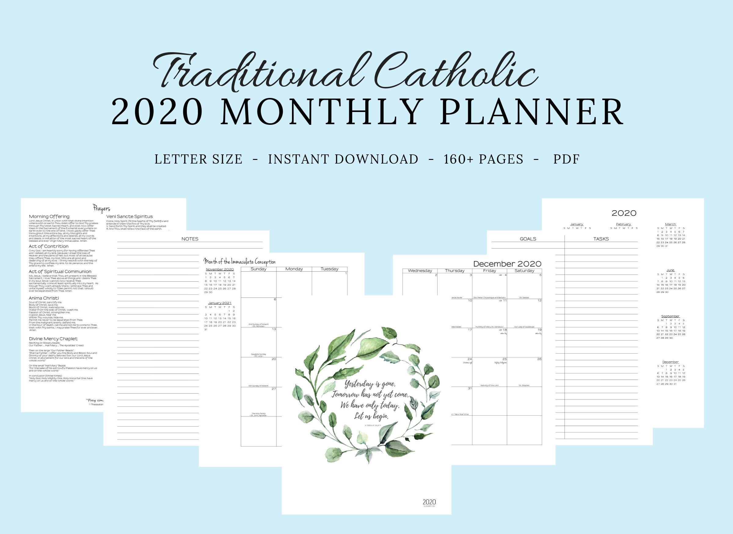 2020 Traditional Latin Catholic Planner Monthly Printable: Latin Mass /  Tridentine Mass / Catholic Calendar / Liturgical Planner