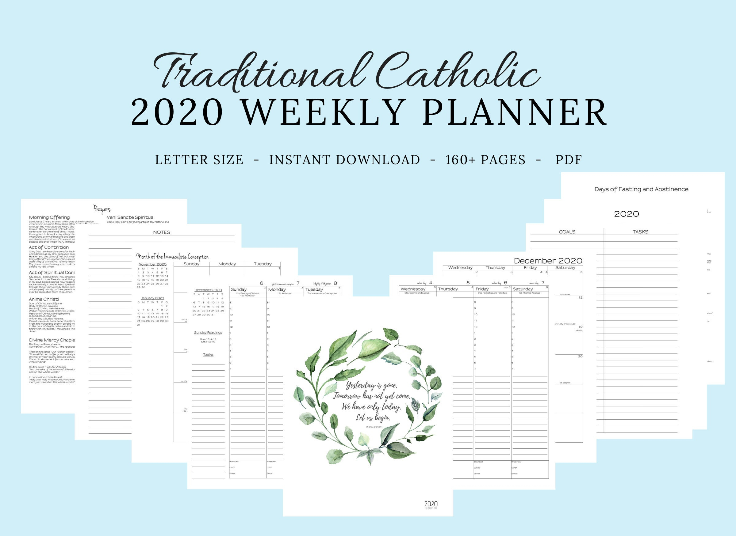 2020 Traditional Latin Catholic Planner Weekly Printable: Latin Mass /  Tridentine Mass / Catholic Calendar / Liturgical Planner