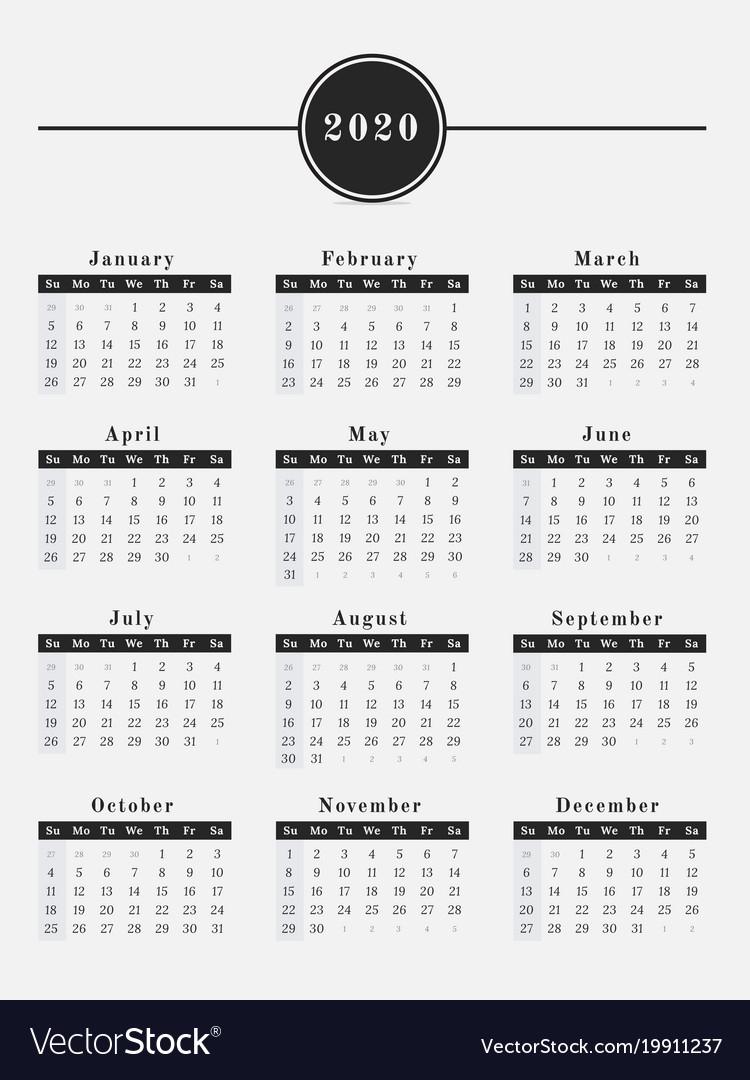 2020 Year Calendar Vertical Design