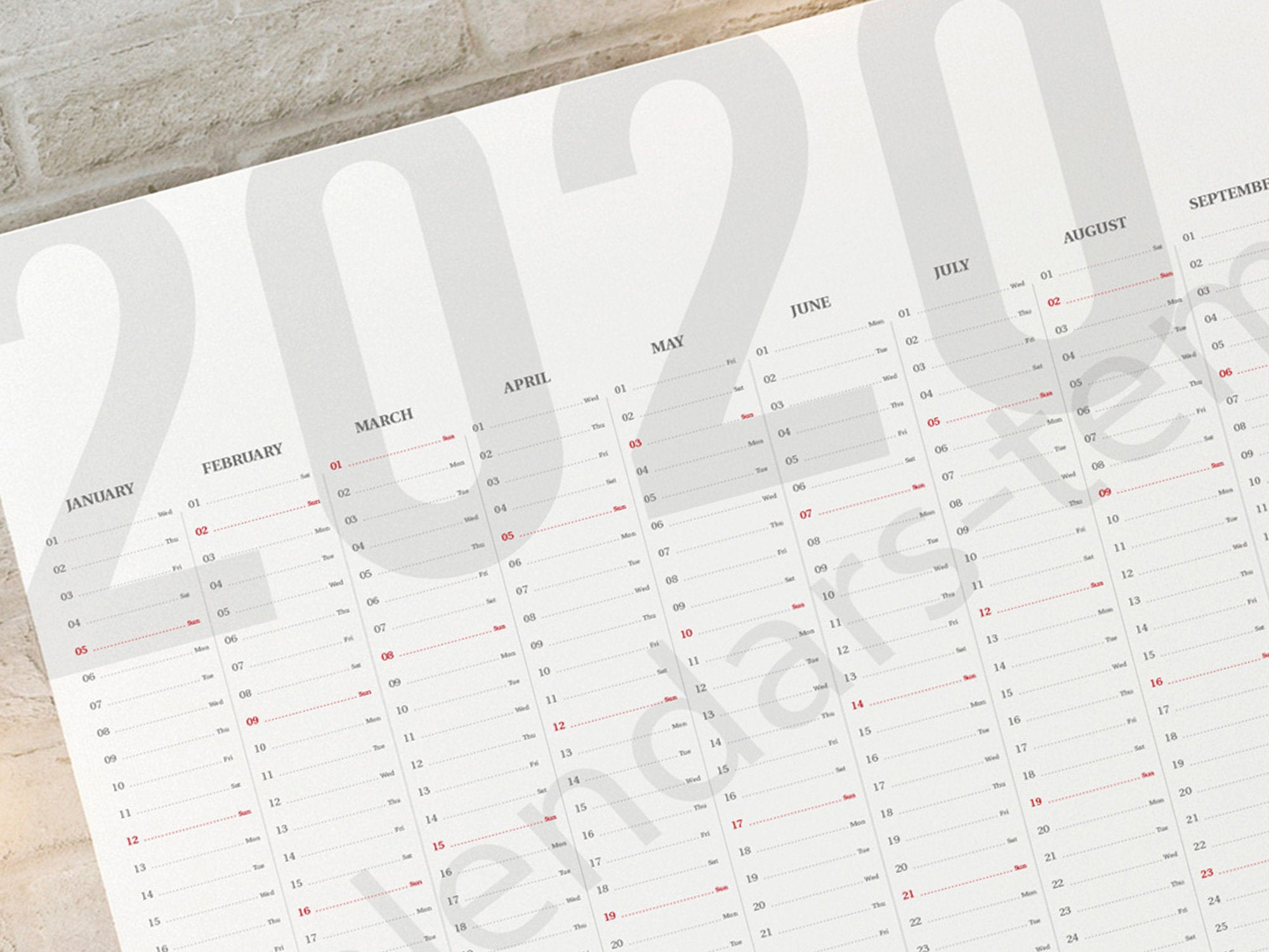 2020 Year Wall Planner. Printable Horizontal Large Wall Planner / Agenda,  Yearly Calendar Kp-W9