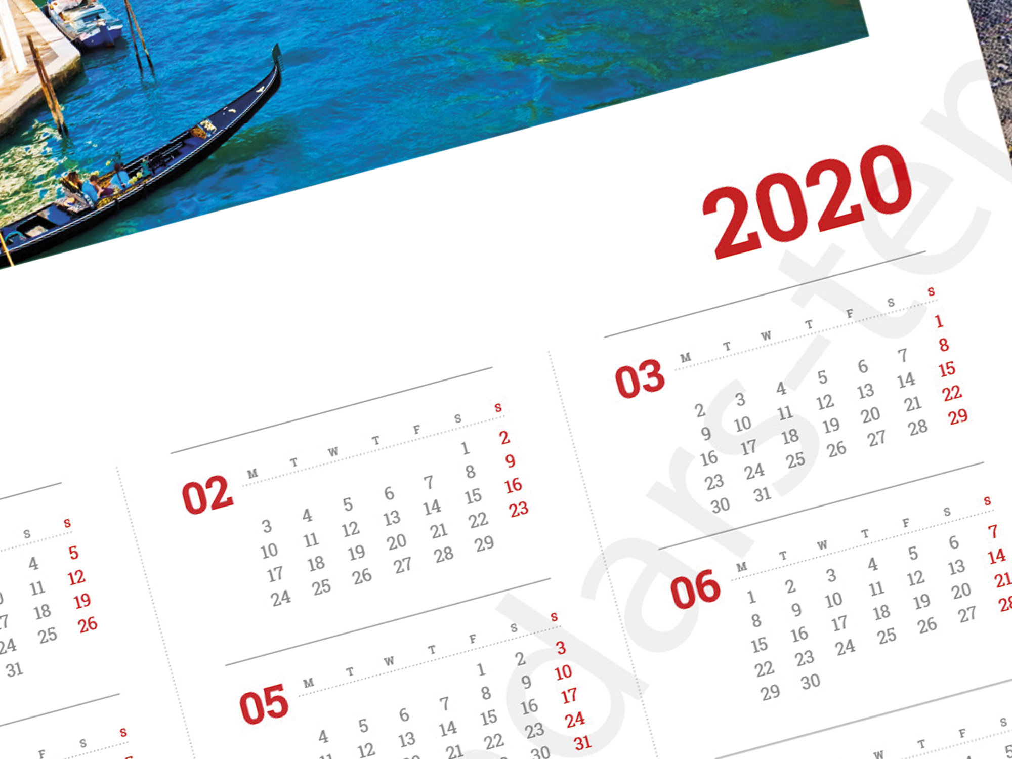 2020 Yearly Poster Wall Calendar Template (Kjp-W12) Size: A3, A2, A1, A0.  Pdf Format