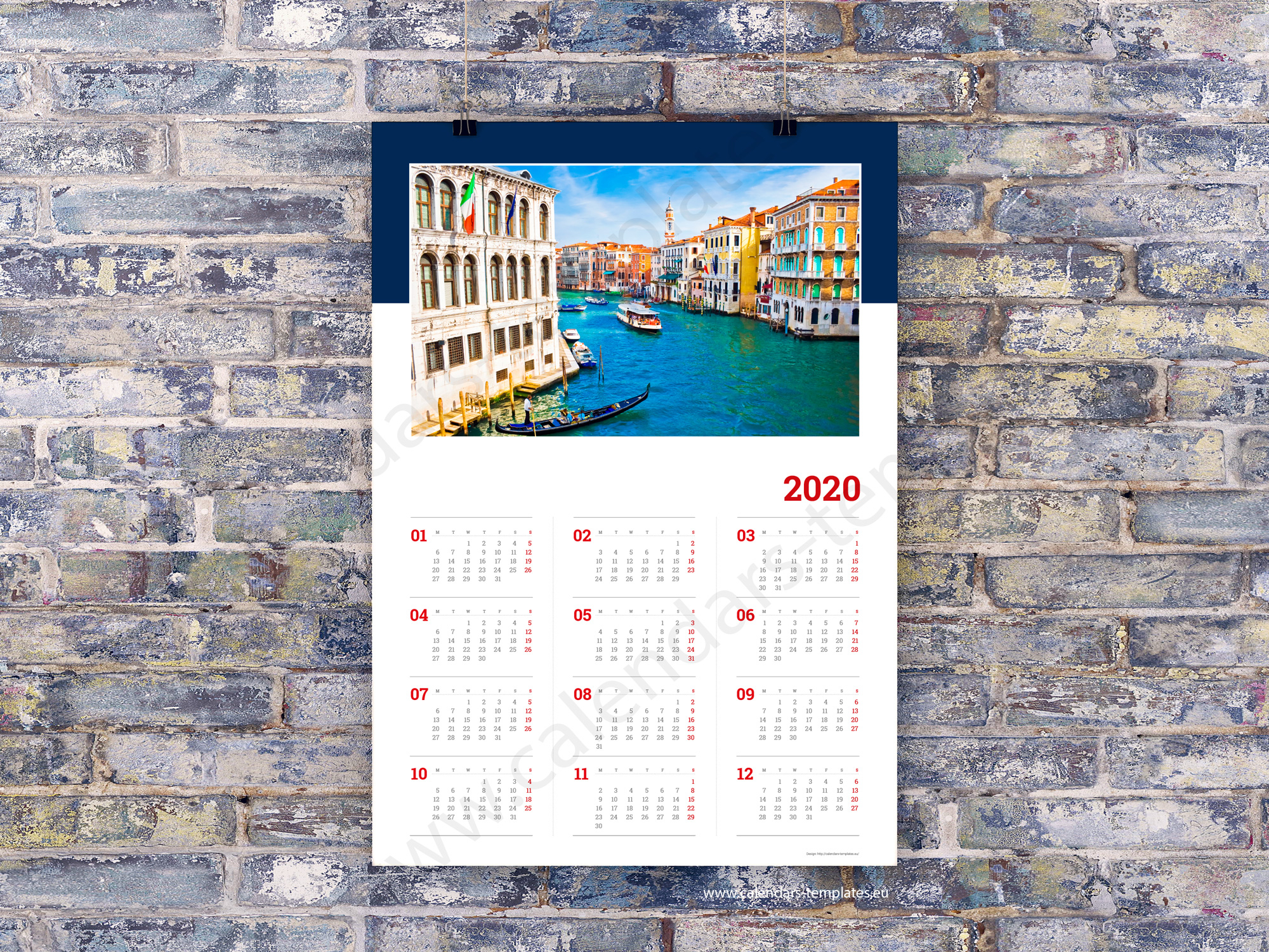 2020 Yearly Wall Planners Calendars. Printable Templates Pdf