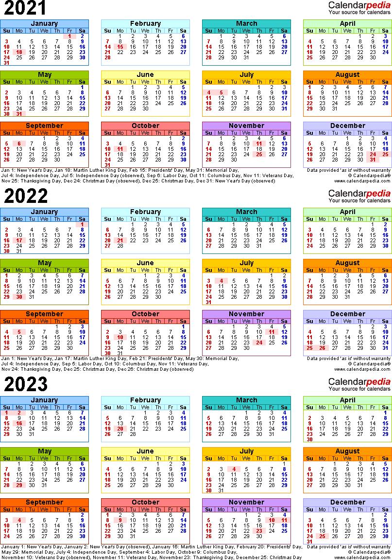 2021/2022/2023 Calendar - 4 Three-Year Printable Pdf Calendars