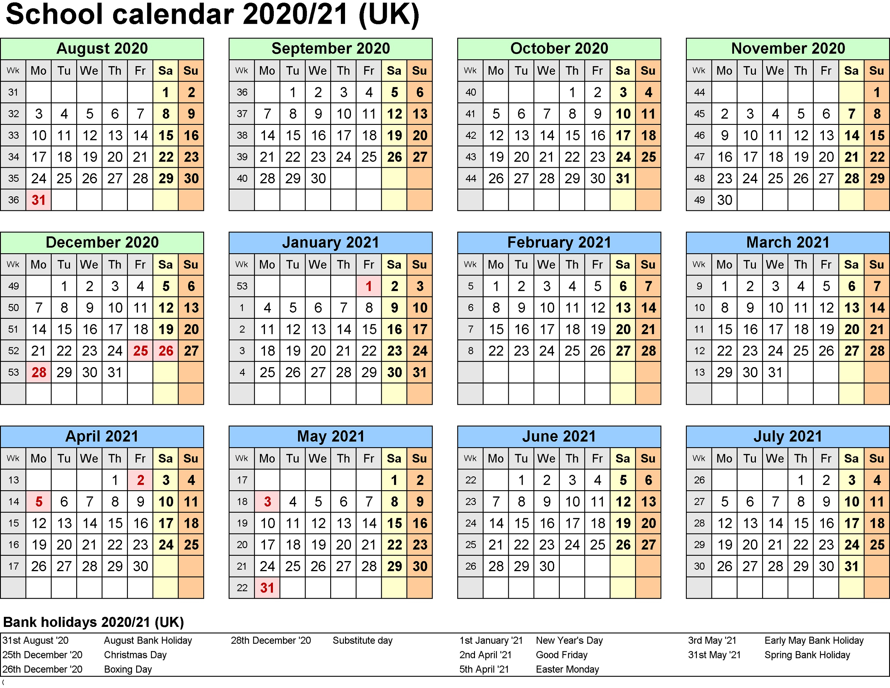 2021 And 2020 School Calendar Printable Free For Class