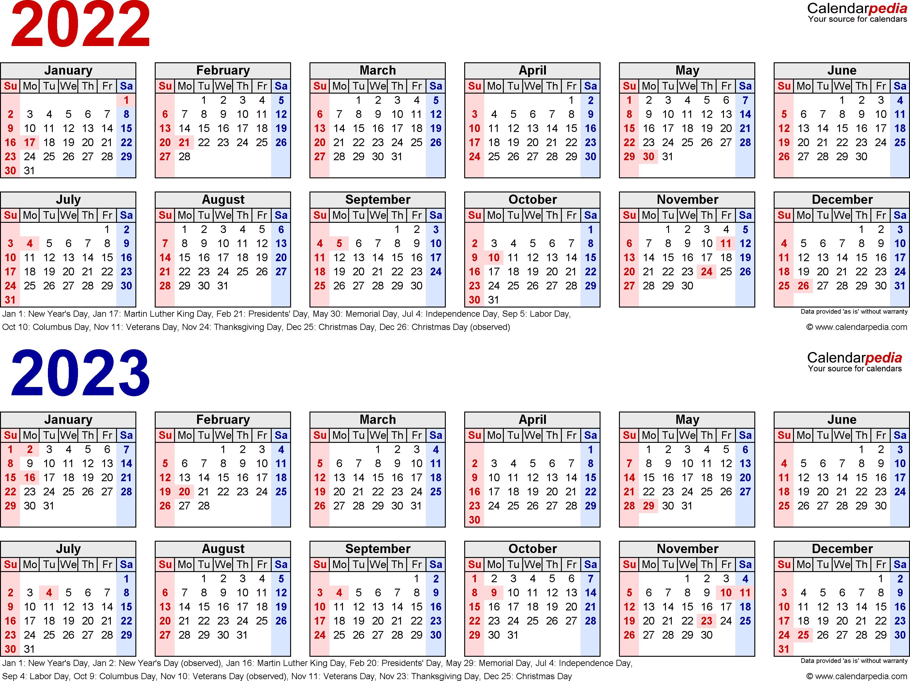 2022-2023 Calendar - Free Printable Two-Year Word Calendars